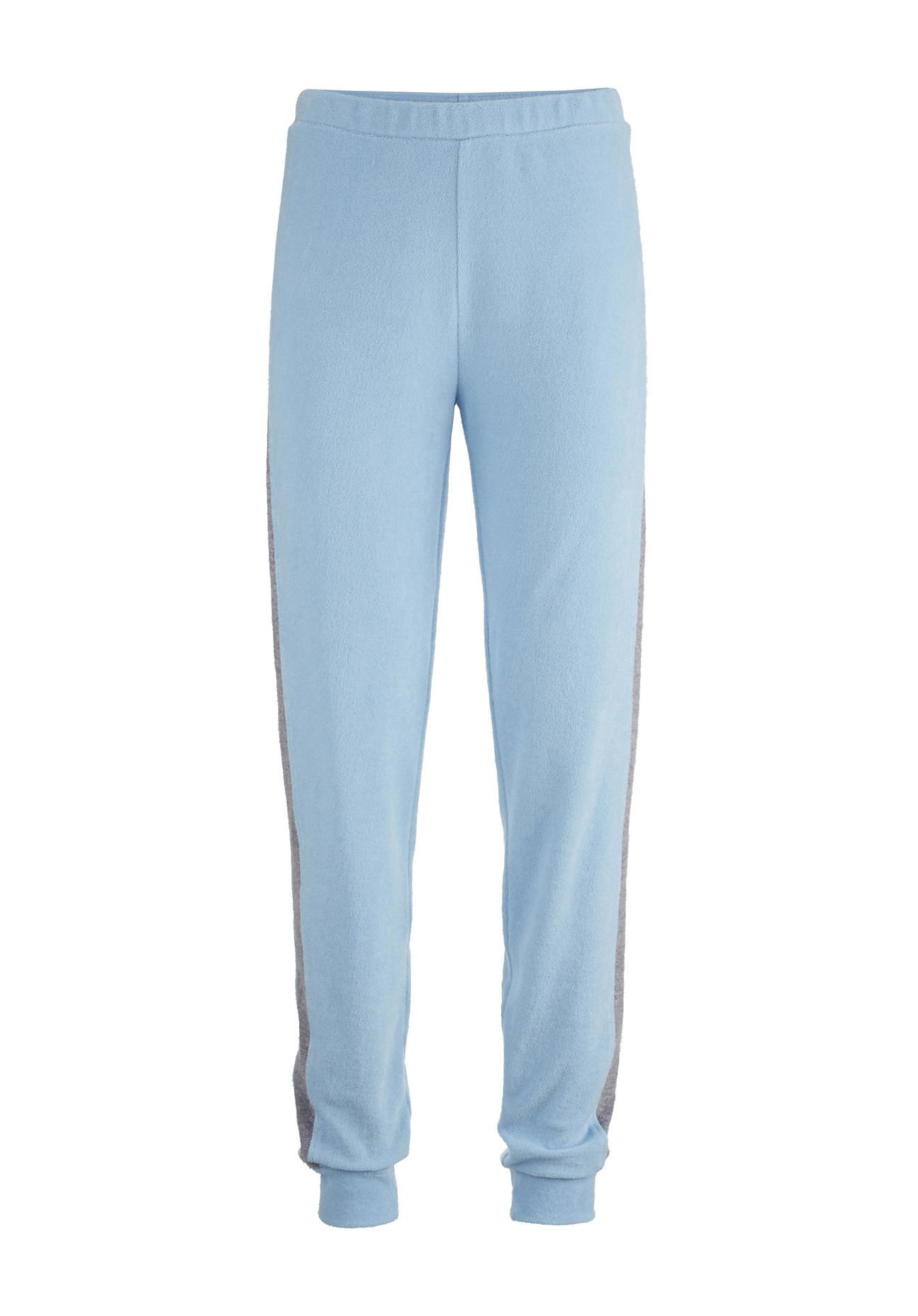 hessnatur Damen Sportliche Frottee-Hose aus Bio-Baumwolle – blau – Größe 46