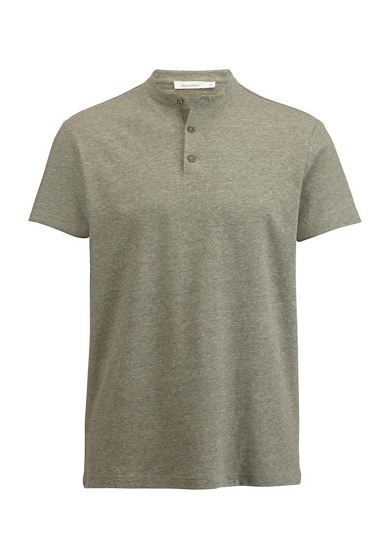 hessnatur Herren Stehkragen-Shirt aus Bio-Baumwolle mit Leinen – grün – Größe 48