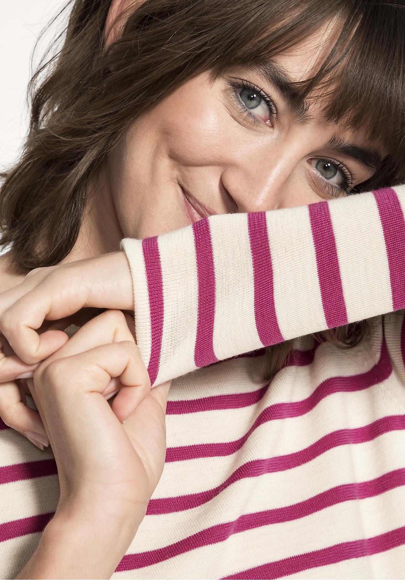 hessnatur Damen Streifenpullover aus Bio-Merinowolle - pink - Größe 46