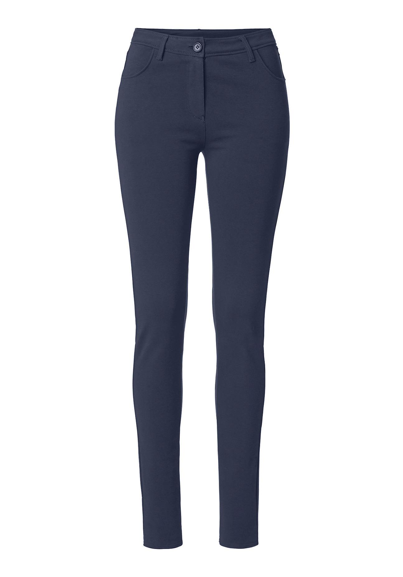 hessnatur Damen Stretch Hose aus Bio Baumwolle – blau – Größe 38