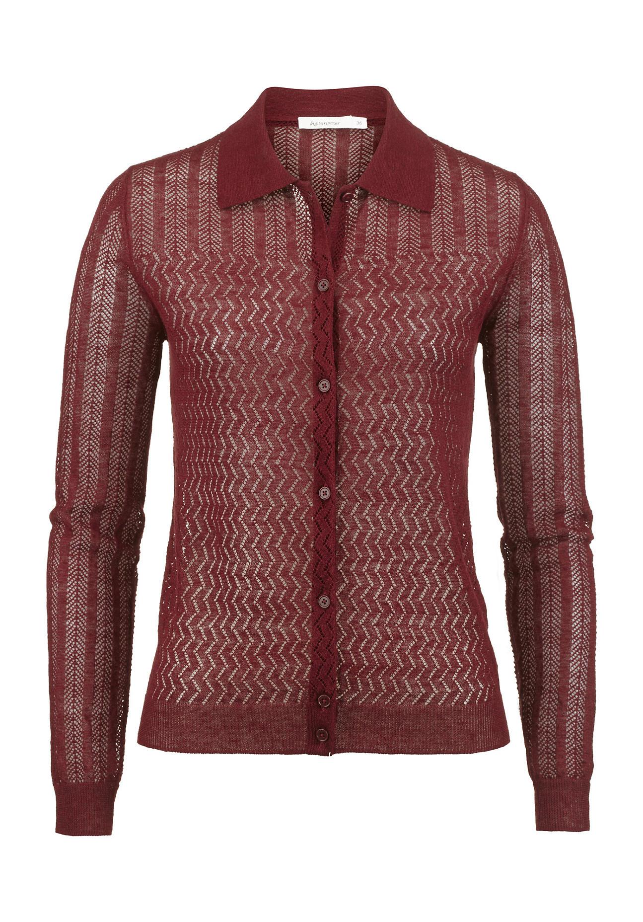 hessnatur Damen Strickjacke aus Leinen mit Seide – rot – Größe 36