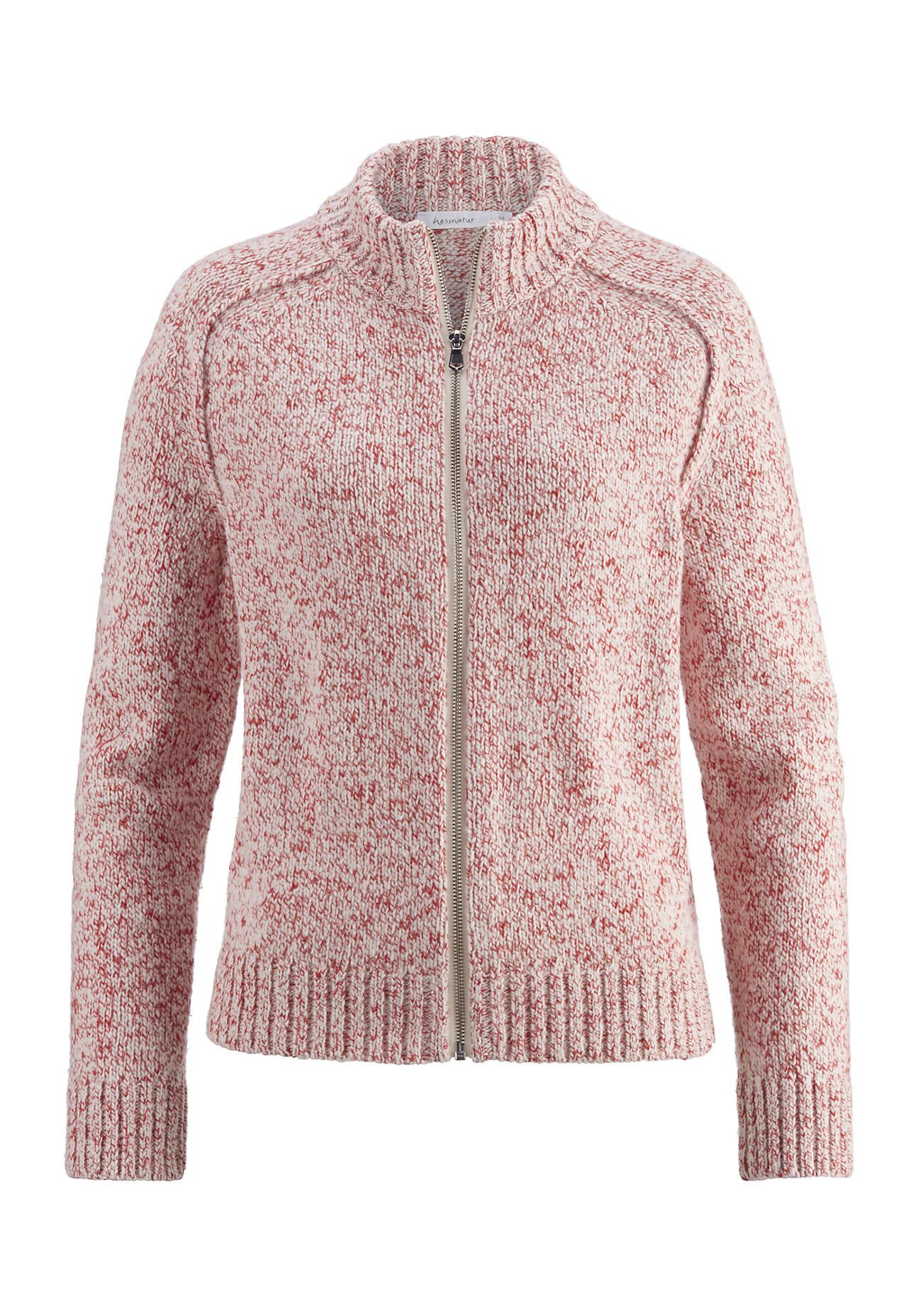 hessnatur Damen Strickjacke aus Schurwolle mit Baumwolle – rot – Größe 42