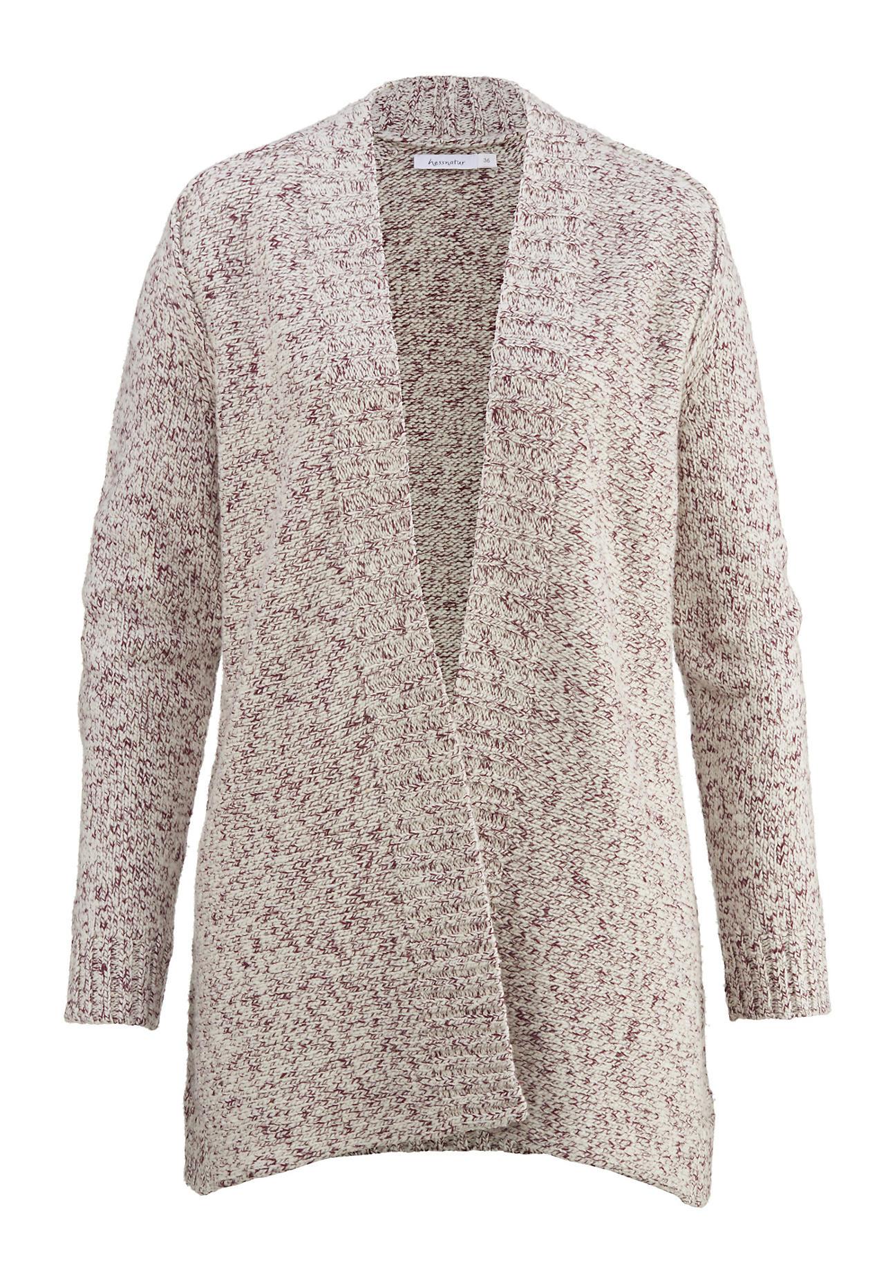 Jacken für Frauen - hessnatur Damen Strickjacke aus Schurwolle mit Bio Baumwolle – rot –  - Onlineshop Hessnatur