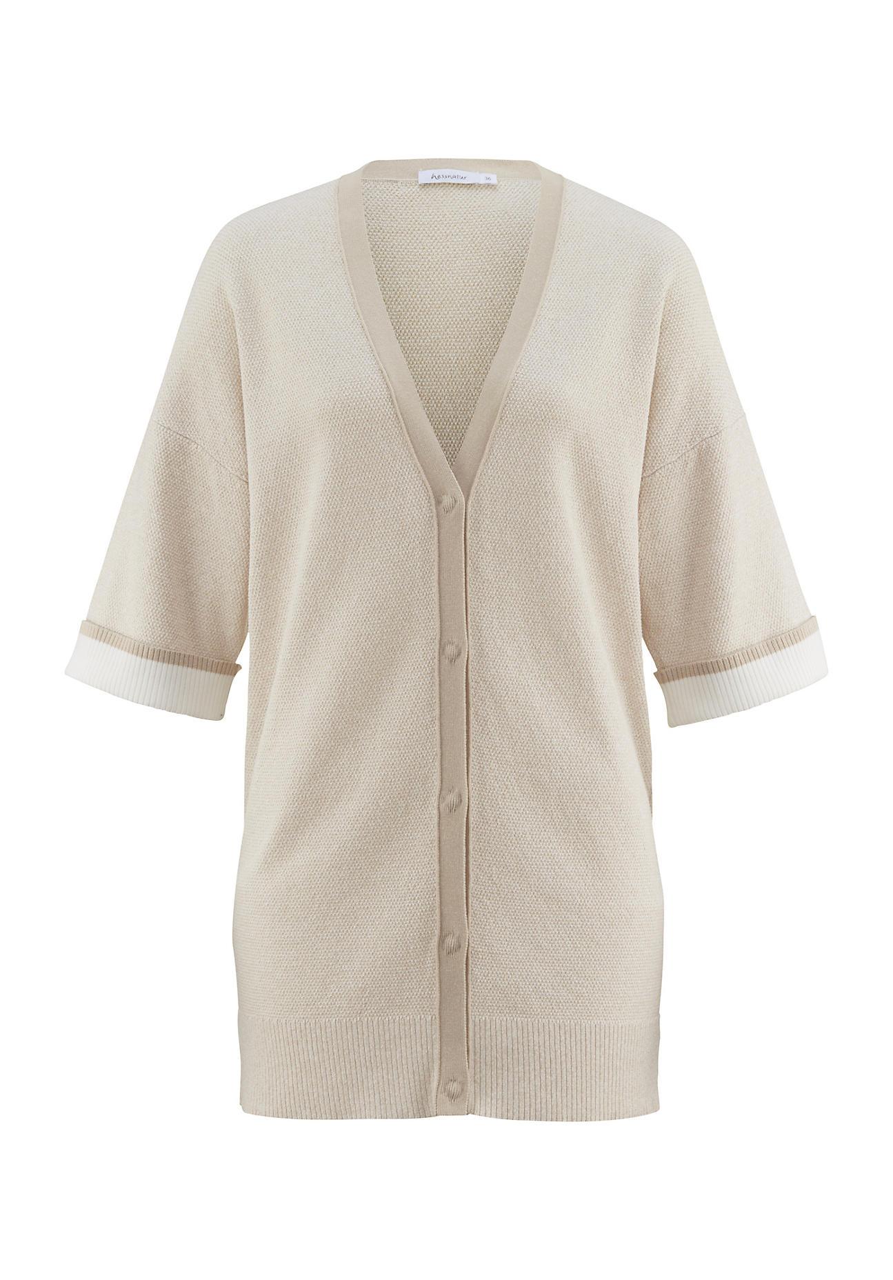 hessnatur -  Damen Strickjacke aus Bio-Baumwolle – beige – Größe XS