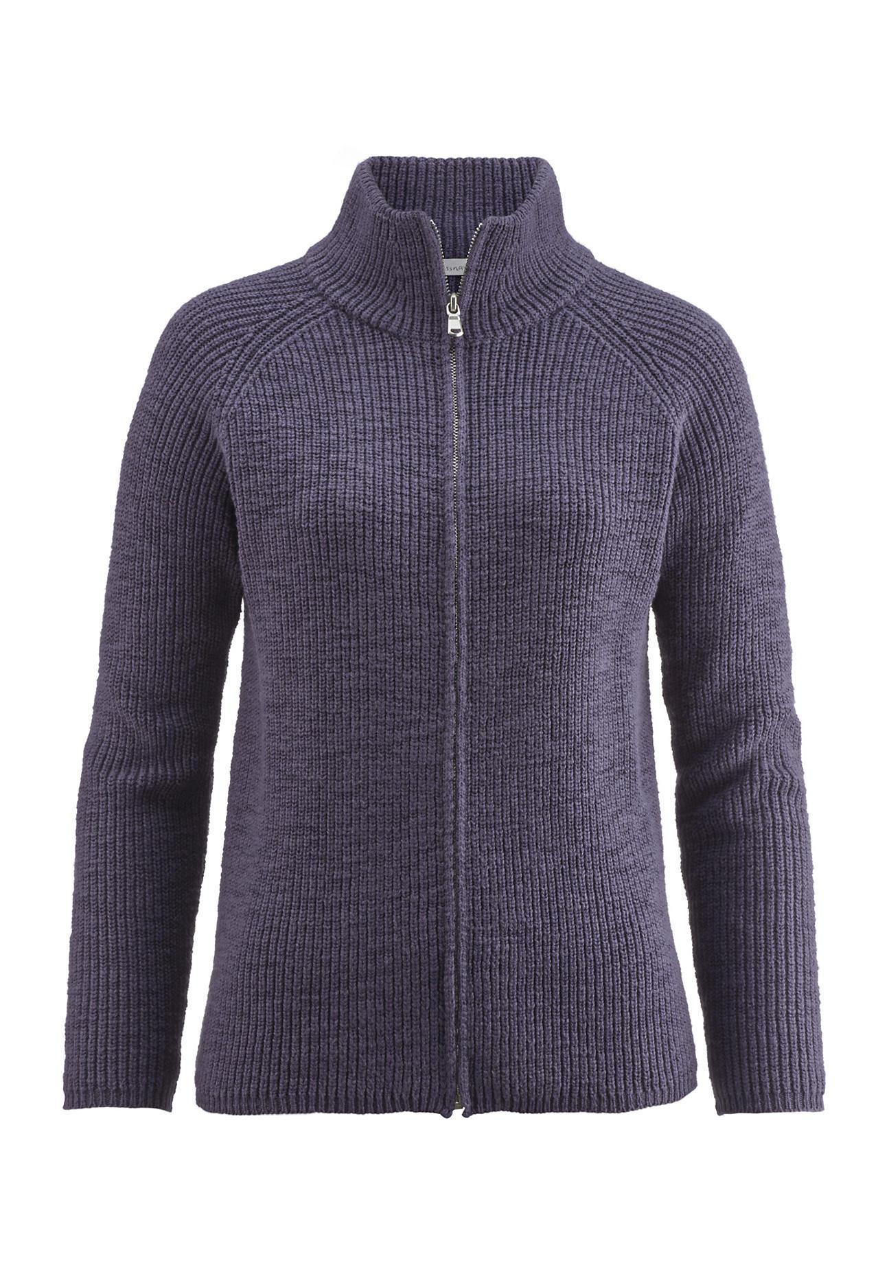 hessnatur -  Damen Strickjacke aus Bio-Baumwolle – lila – Größe 34