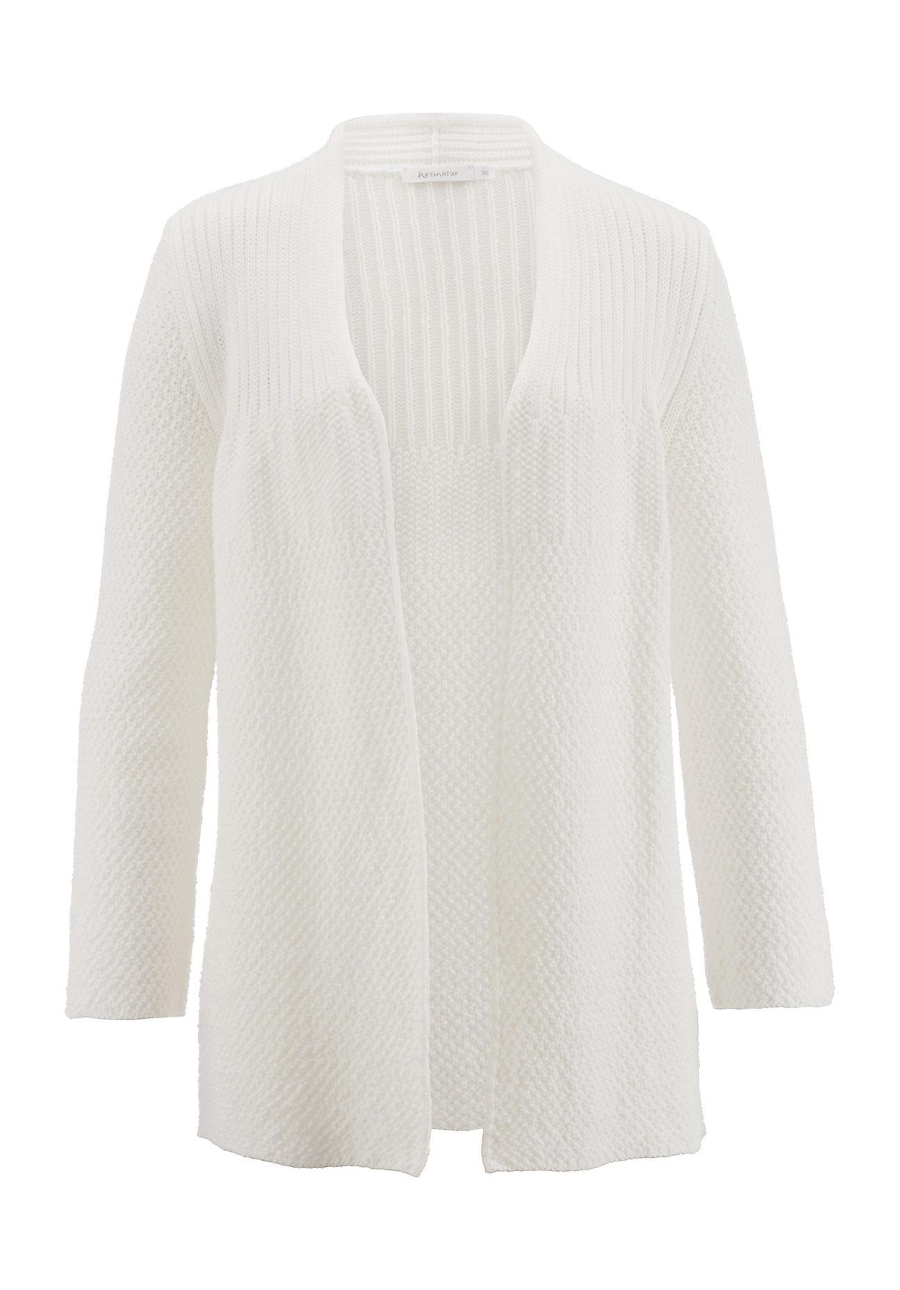 hessnatur -  Damen Strickjacke aus Bio-Baumwolle – weiß – Größe 46