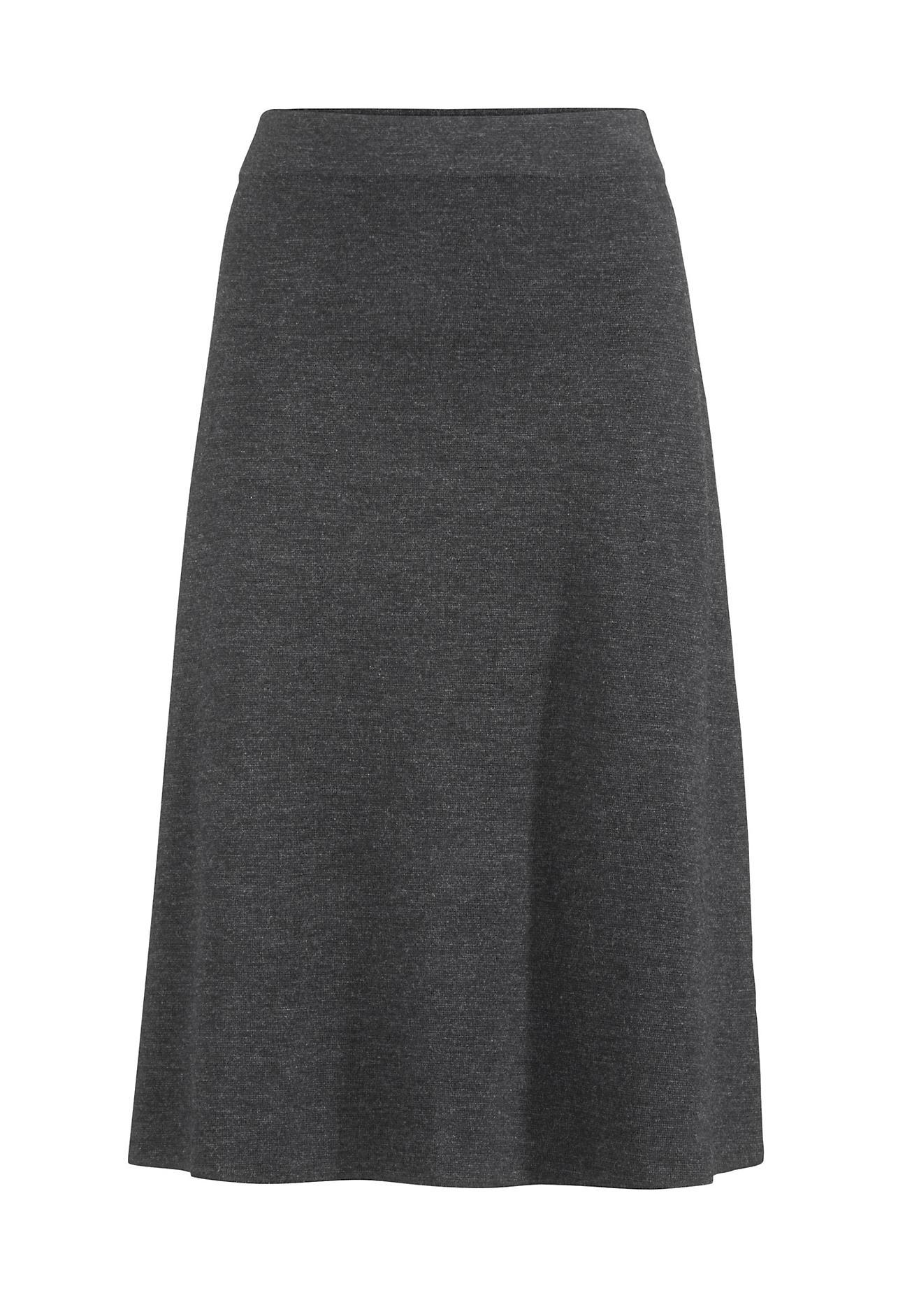 hessnatur Damen Strickrock aus Bio-Schurwolle – grau – Größe 44 | Bekleidung > Röcke > Strickröcke | Anthrazit | Schurwolle | hessnatur