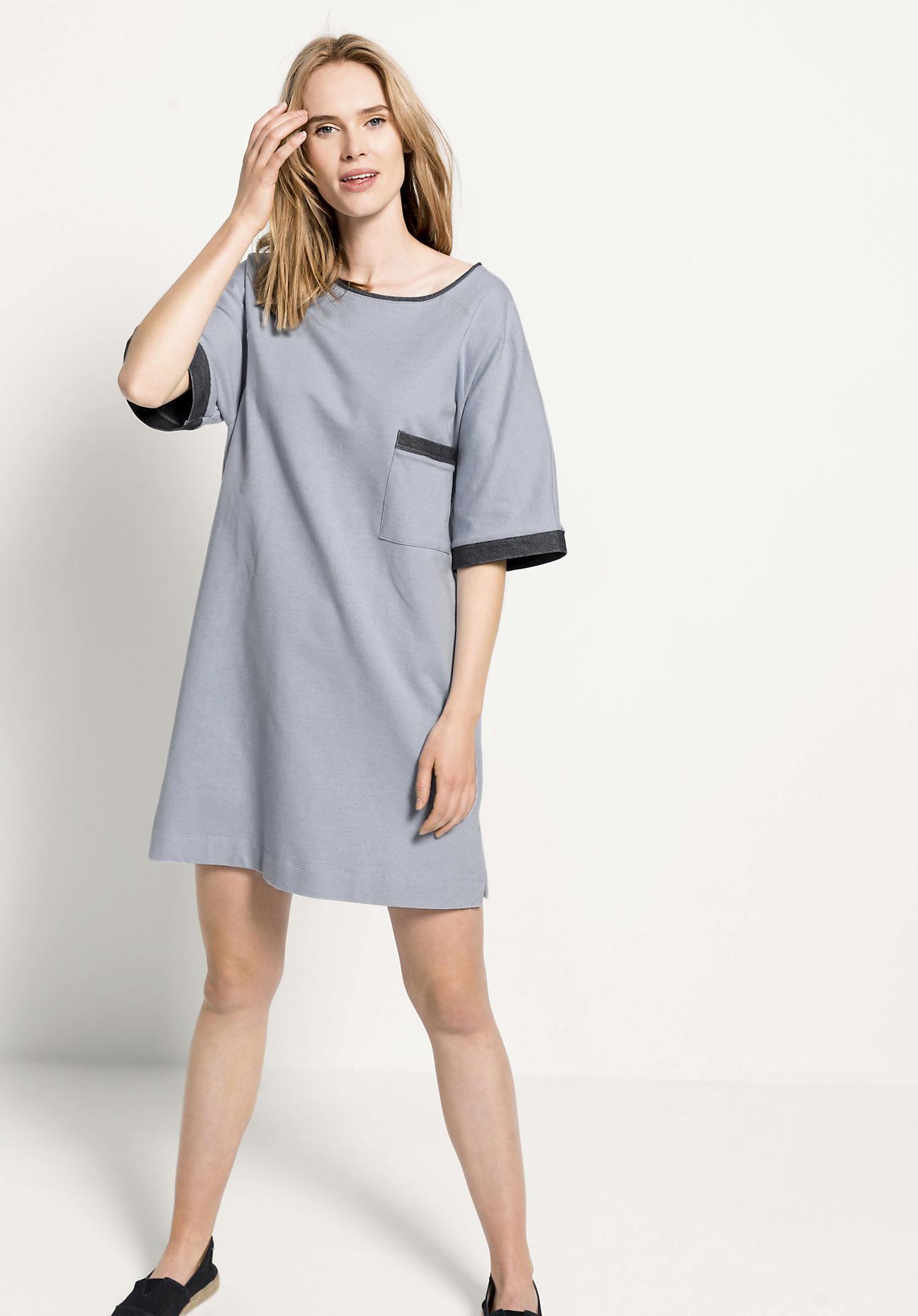 hessnatur Loungewear Sweatkleid aus Bio-Baumwolle - blau Größe 34