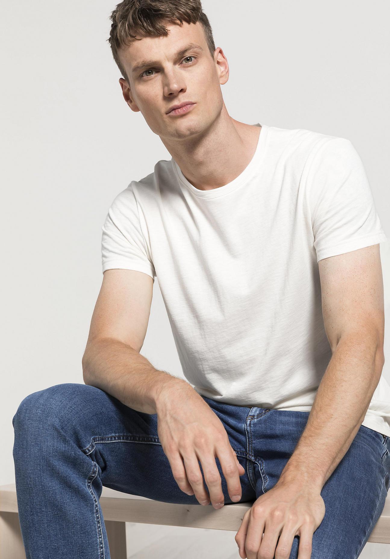 hessnatur Herren T-Shirt aus Bio-Baumwolle mit Schurwolle - weiß Größe 56