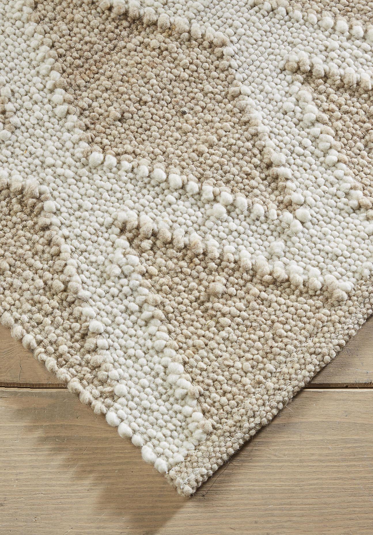 hessnatur Teppich Raute aus Schurwolle – beige – Größe 70x140 cm