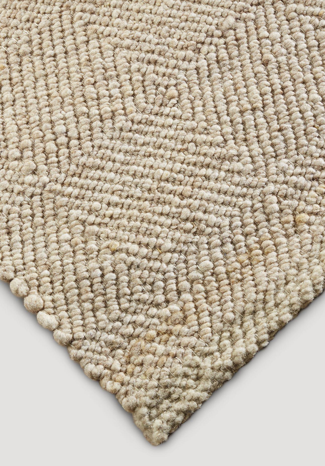 hessnatur Teppich Ruga aus Schurwolle – beige – Größe 70x140 cm