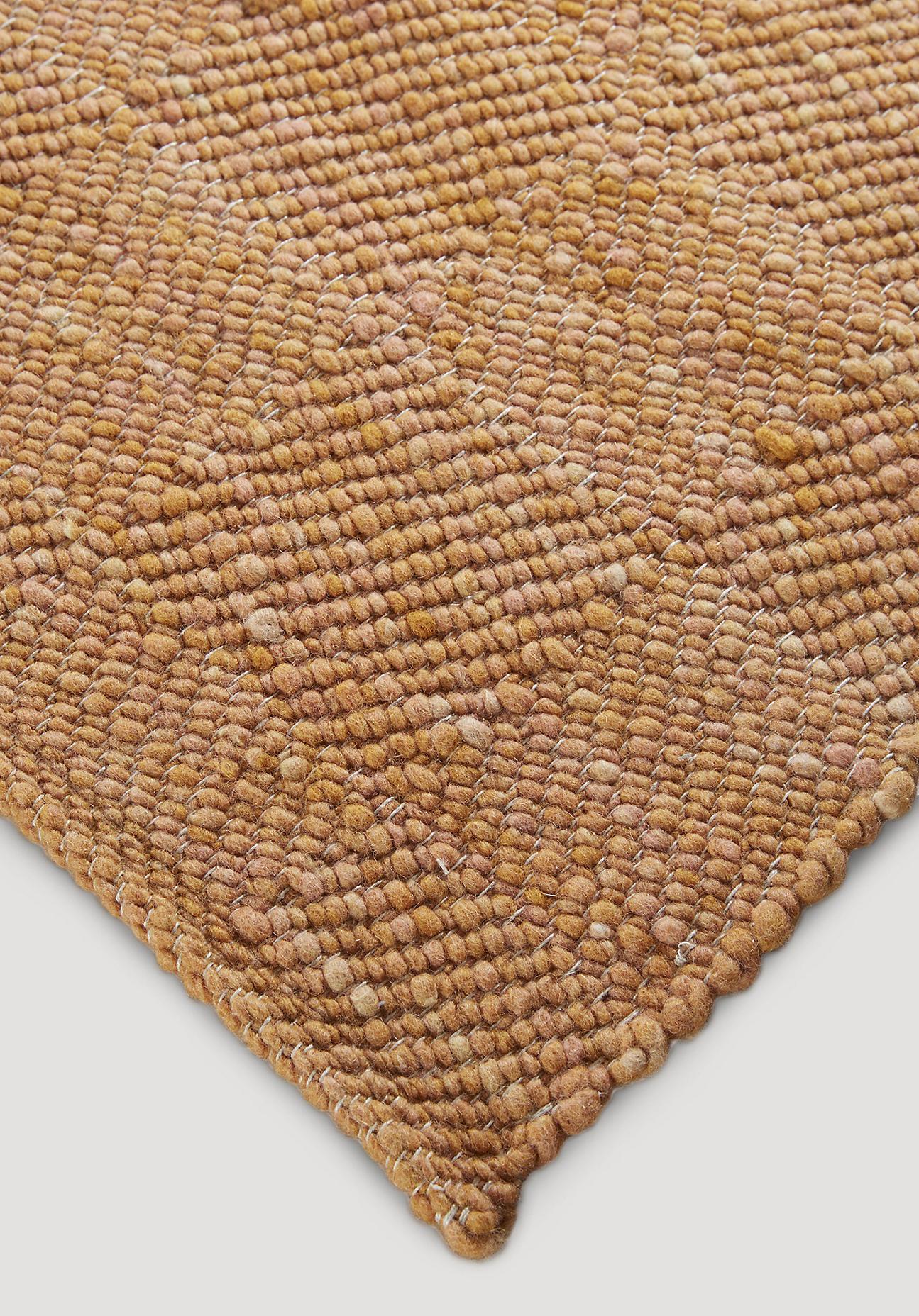 hessnatur Teppich Ruga aus Schurwolle – braun – Größe 70x140 cm