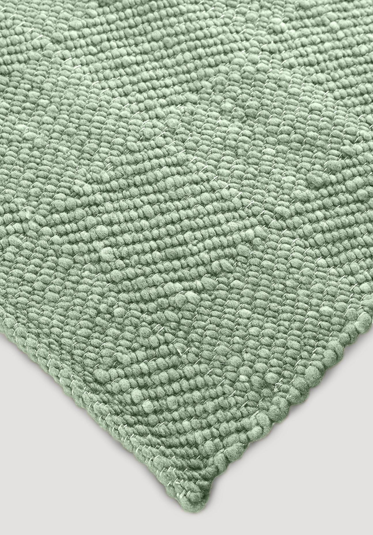 hessnatur Teppich Ruga aus Schurwolle – grün – Größe 70x140 cm