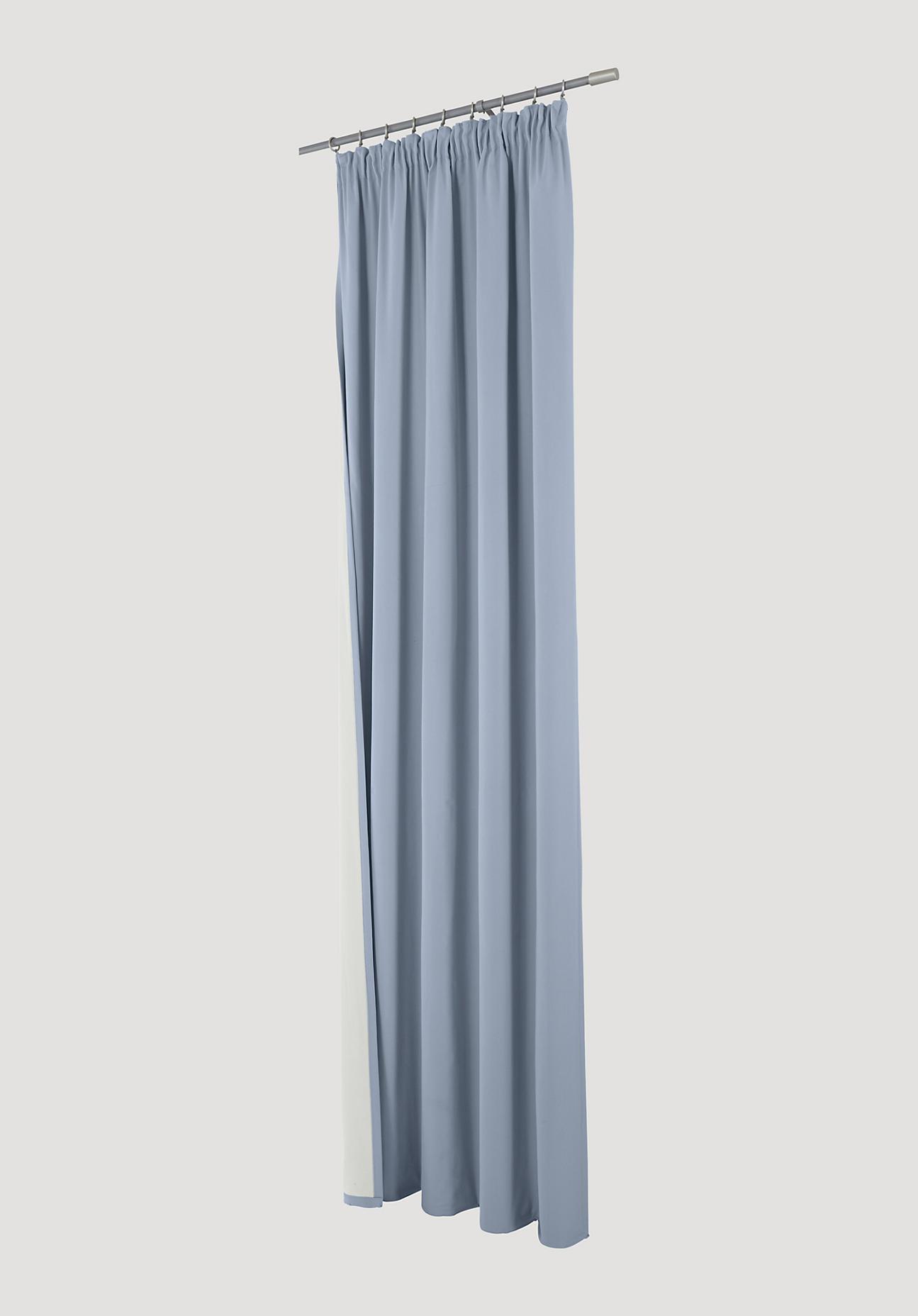 hessnatur Thermo-Vorhang mit Faltenband aus Bio-Baumwolle – blau – Größe 245x132cm
