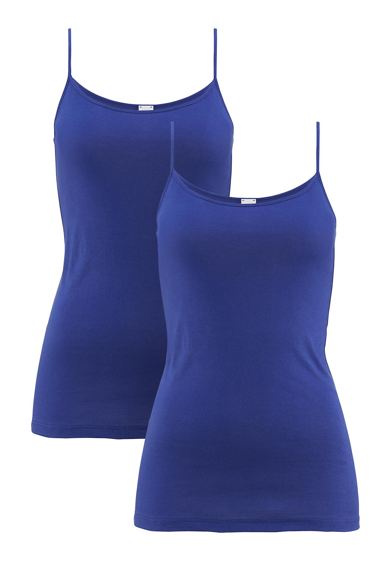 hessnatur Damen Top PureDAILY im 2er Set aus Bio Baumwolle – blau – Größe 38