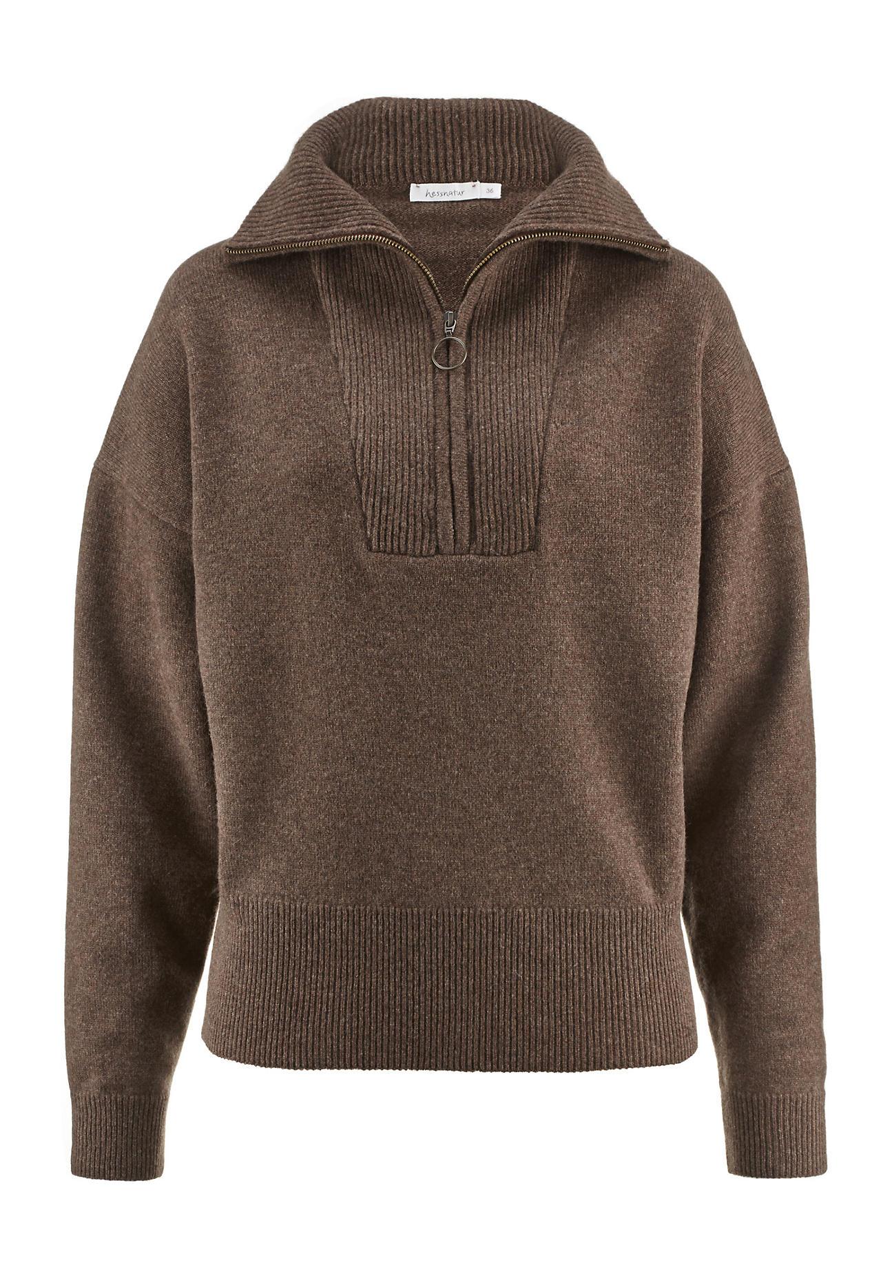 hessnatur Damen Troyer aus Lambswool – braun – Größe 40 | Bekleidung > Pullover > Troyer | hessnatur