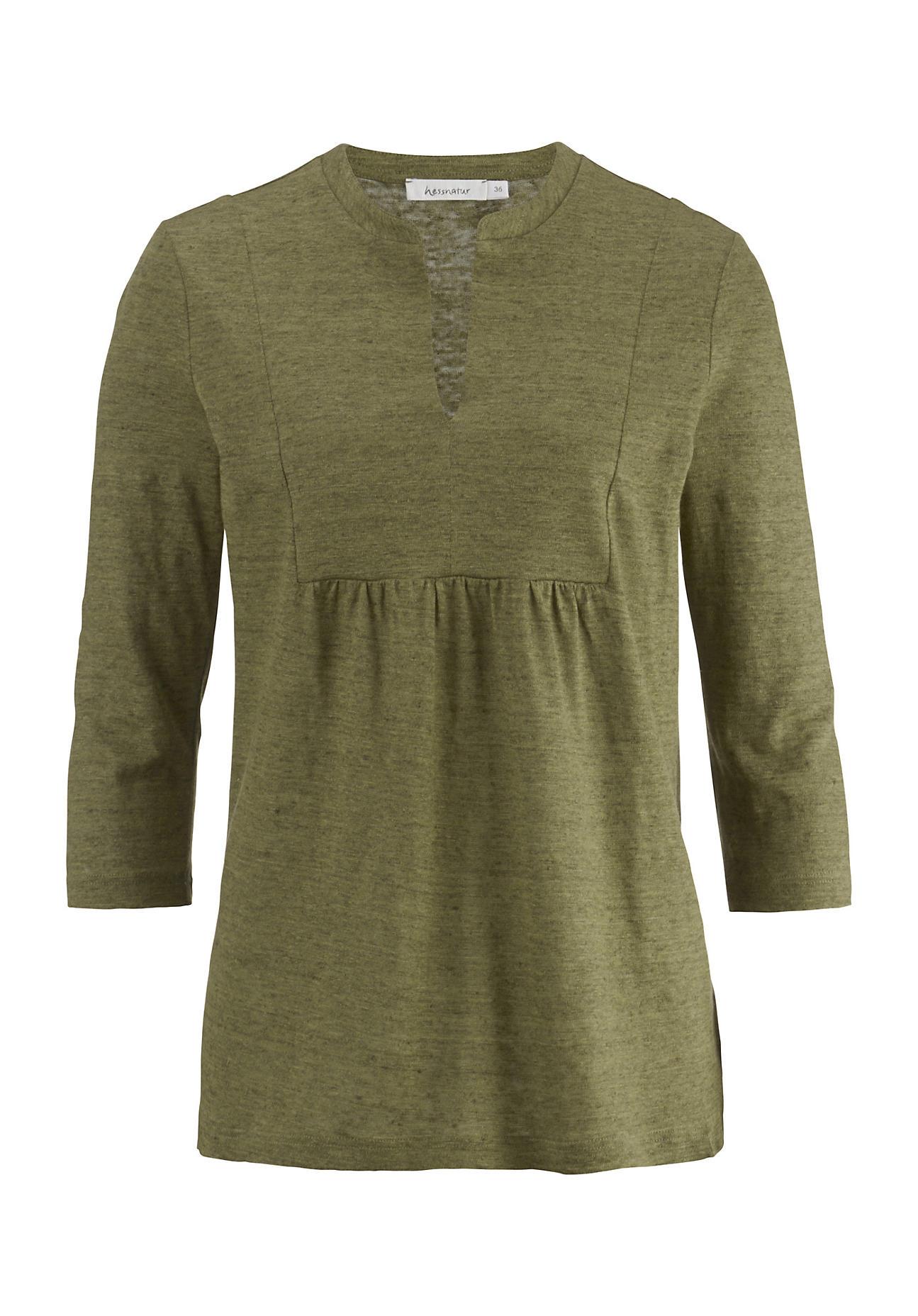 hessnatur Damen Tunika-Shirt aus Leinen – grün – Größe 40   Bekleidung > Shirts > Tunikashirts   hessnatur