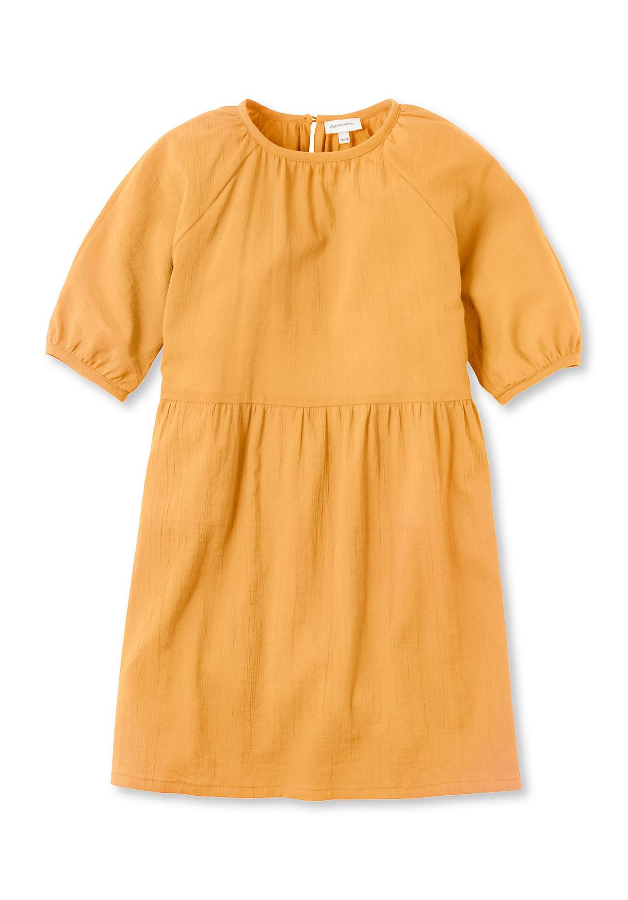 hessnatur Kinder Volantkleid - gelb Größe 158/164