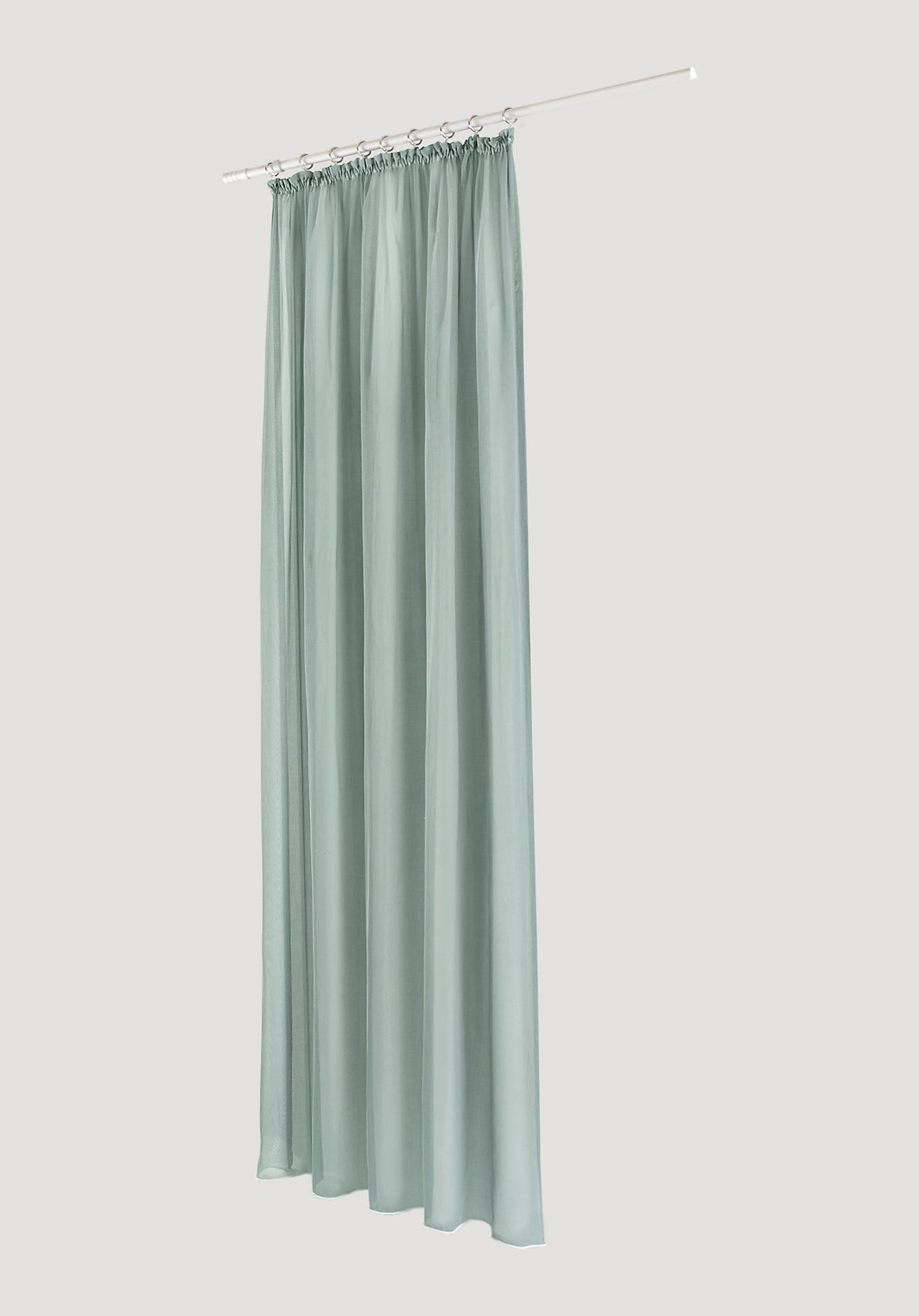 hessnatur Vorhang mit Gardinenband aus Bio-Baumwolle – grün – Größe 245x135cm