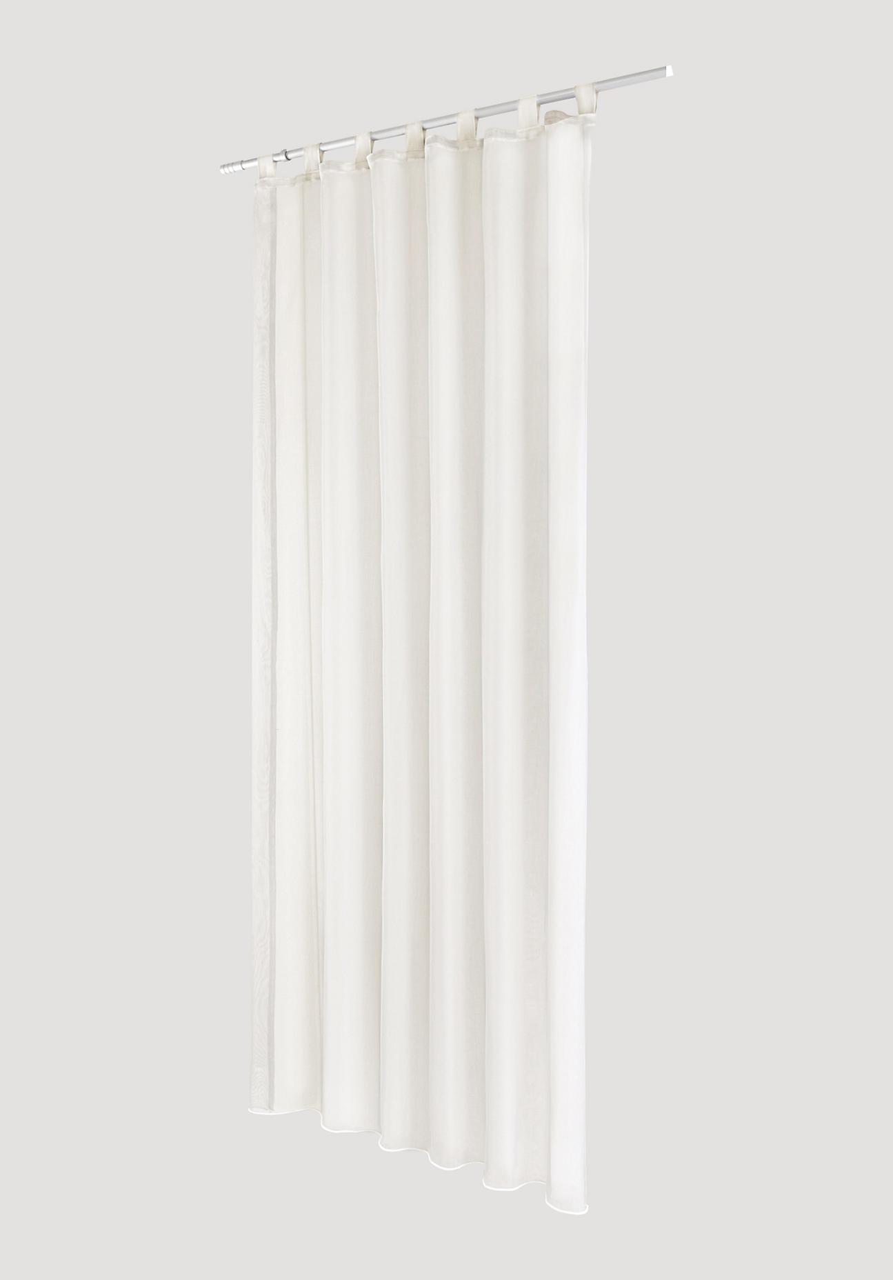 hessnatur Vorhang mit Schlaufen aus Bio-Baumwolle – weiß – Größe 245x135cm