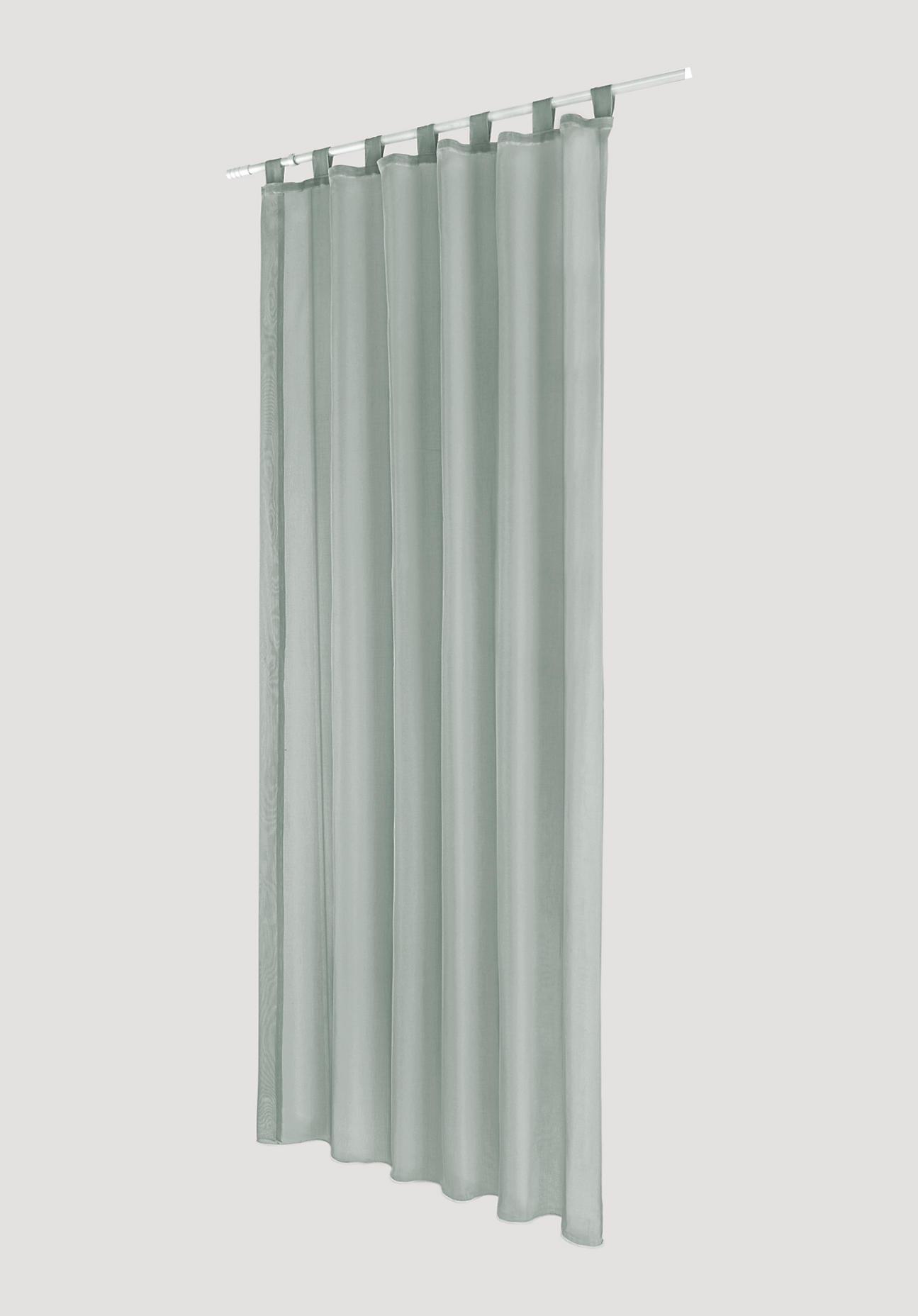 hessnatur Vorhang mit Schlaufen aus Bio-Baumwolle – grün – Größe 245x135cm