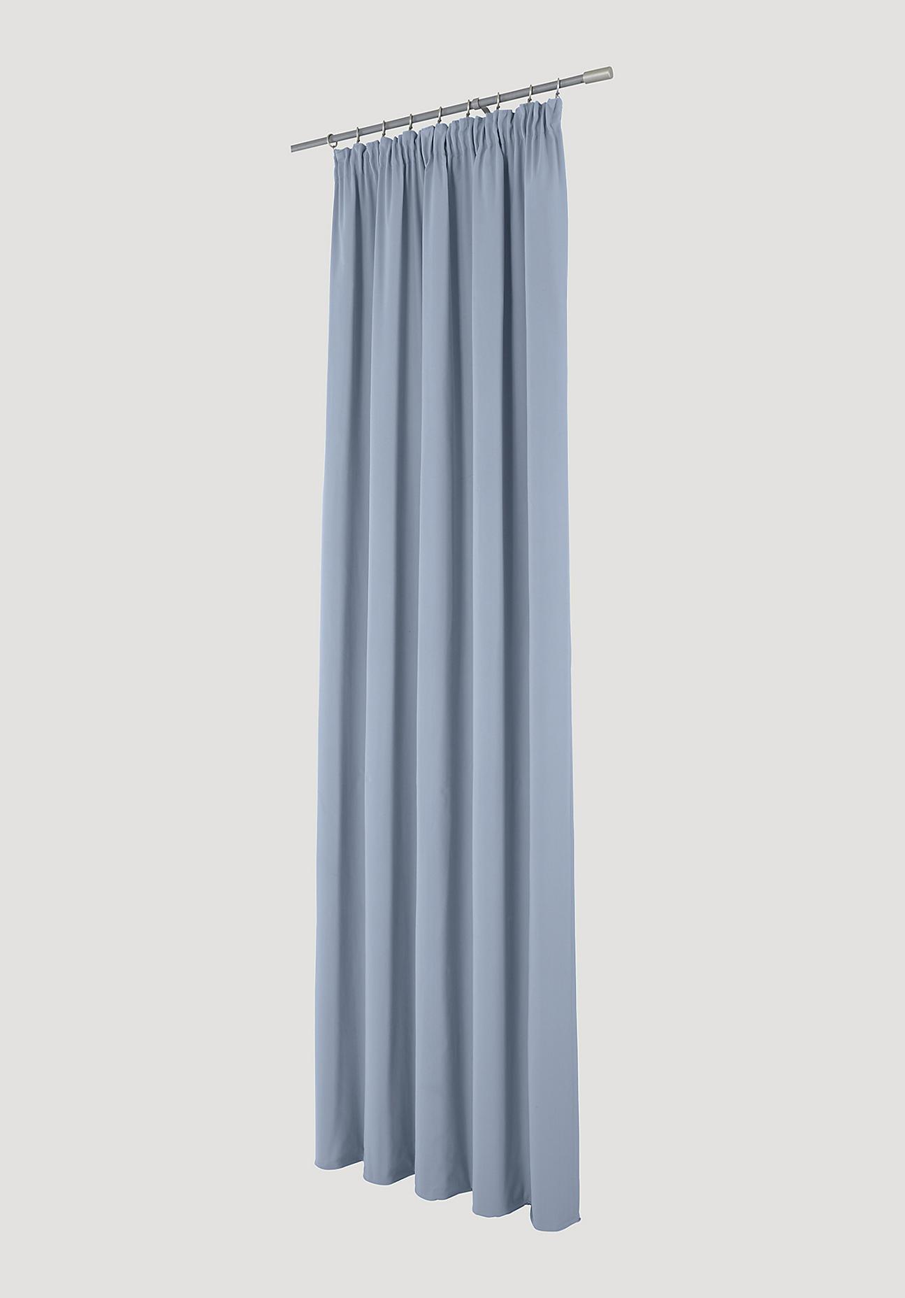hessnatur Vorhang mit Faltenband aus Bio-Baumwolle – blau – Größe 175x135cm