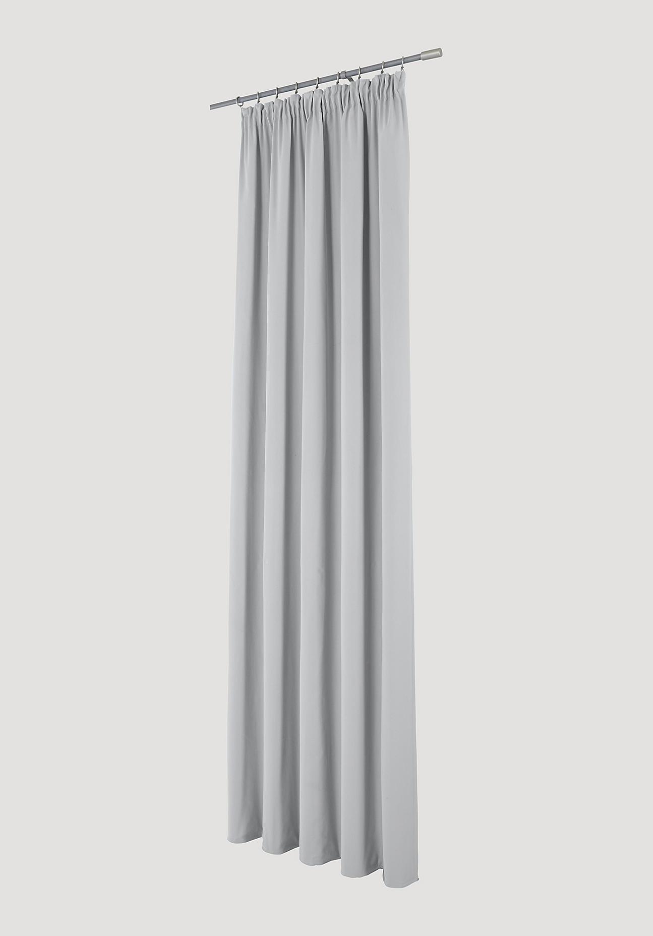 hessnatur Vorhang mit Faltenband aus Bio-Baumwolle – grau – Größe 245x135cm