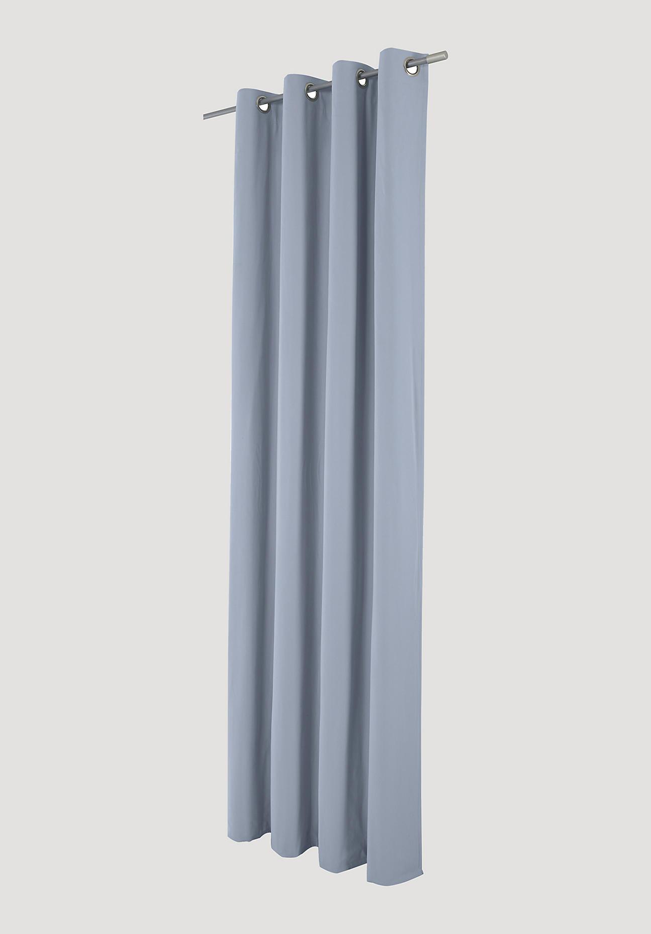 hessnatur Vorhang mit Ösen aus Bio-Baumwolle – blau – Größe 175x132cm