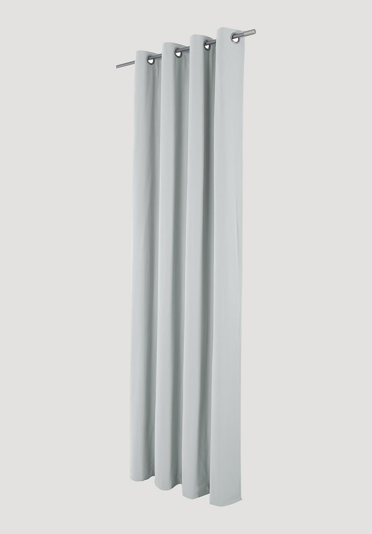 hessnatur Vorhang mit Ösen aus Bio-Baumwolle – grau – Größe 245x132cm