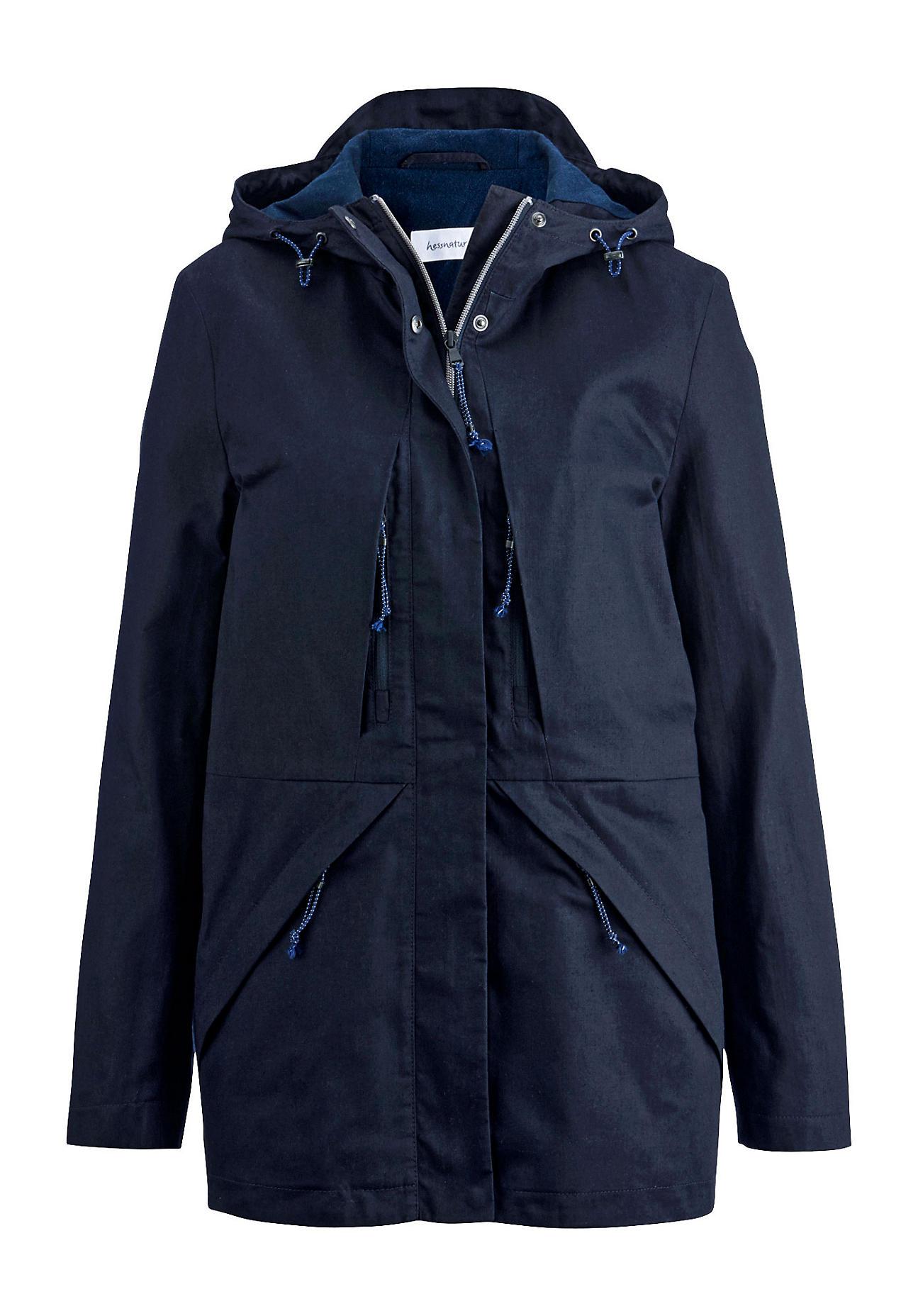 hessnatur Outdoor Wachsjacke aus Bio-Baumwolle – blau – Größe 34
