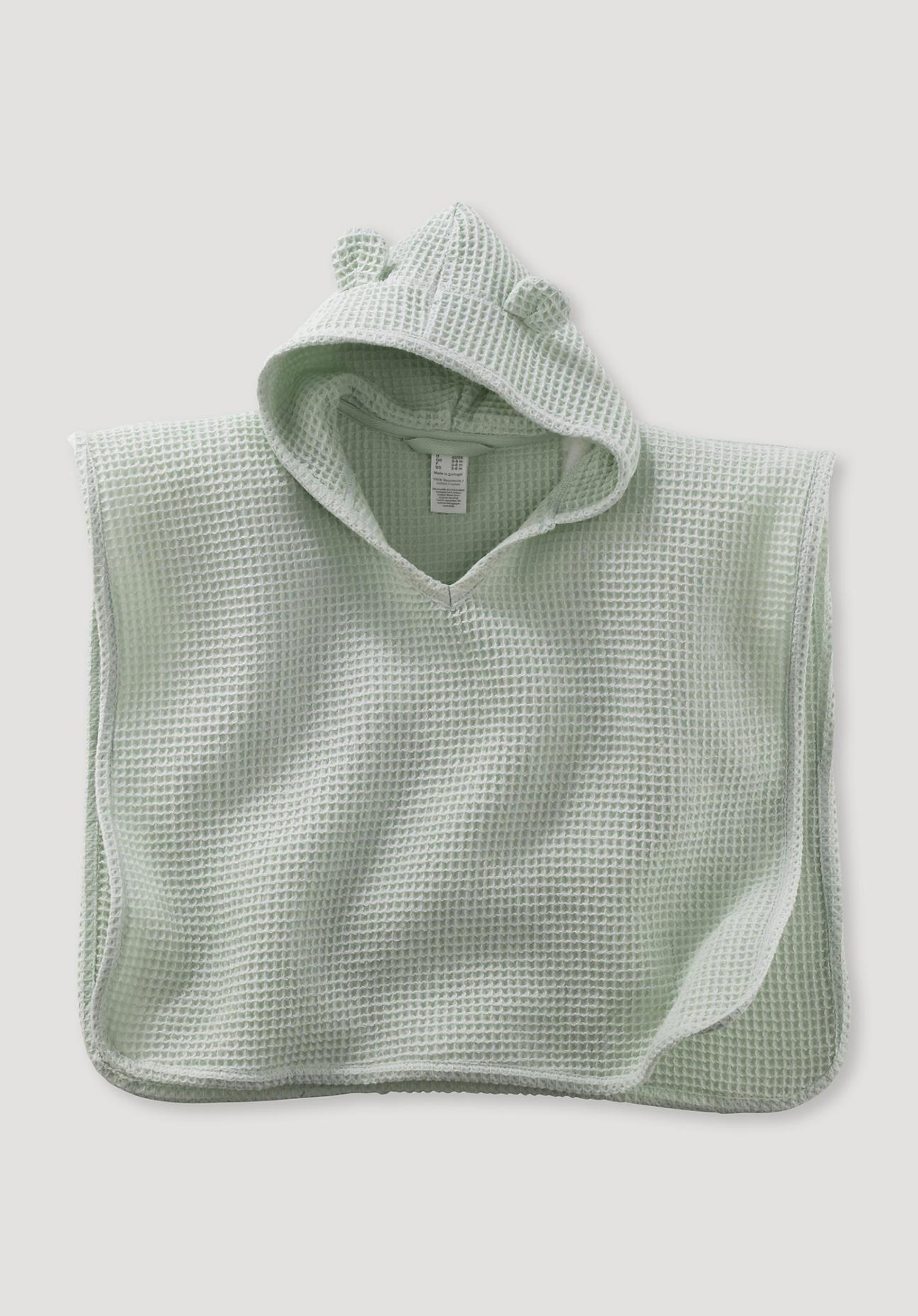 hessnatur Baby Waffelpiqué-Badeponcho aus Bio-Baumwolle – grün – Größe 98/104