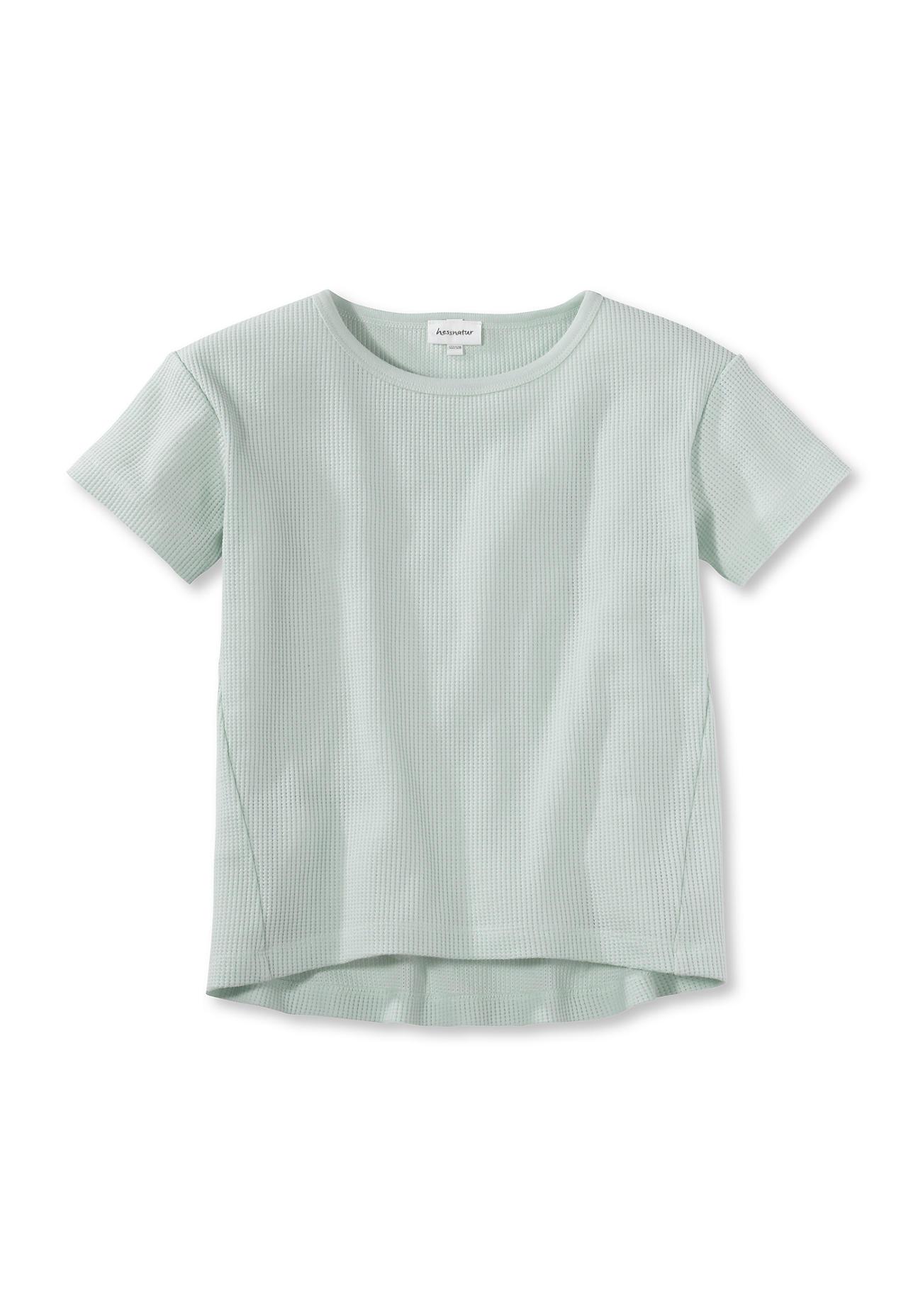 hessnatur Kinder Waffelpiqué-Shirt aus Bio-Baumwolle - grün Größe 110/116