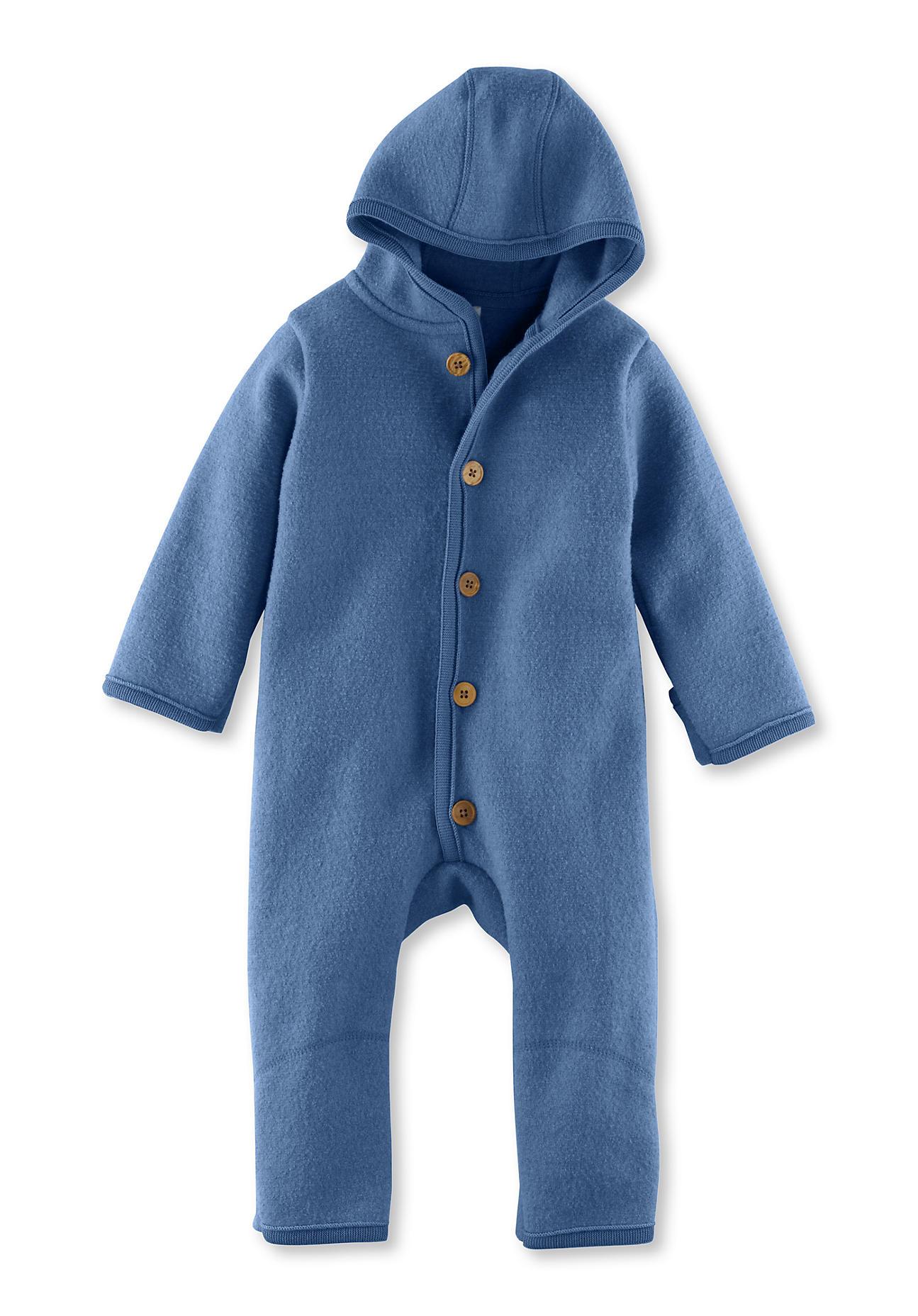 hessnatur Baby Walkoverall aus Bio-Merinowolle – blau – Größe 50/56