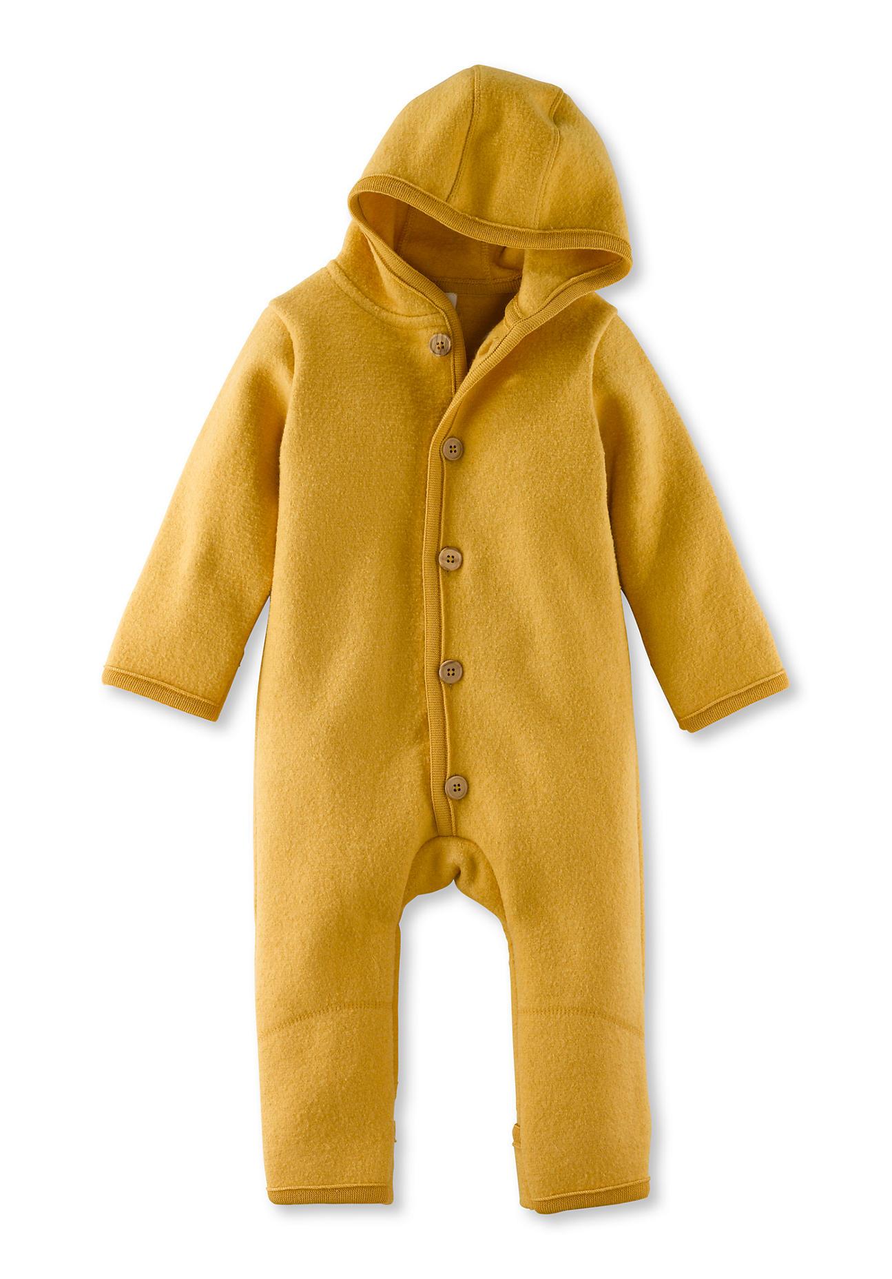 hessnatur Baby Walkoverall aus Bio-Merinowolle – gelb – Größe 50/56
