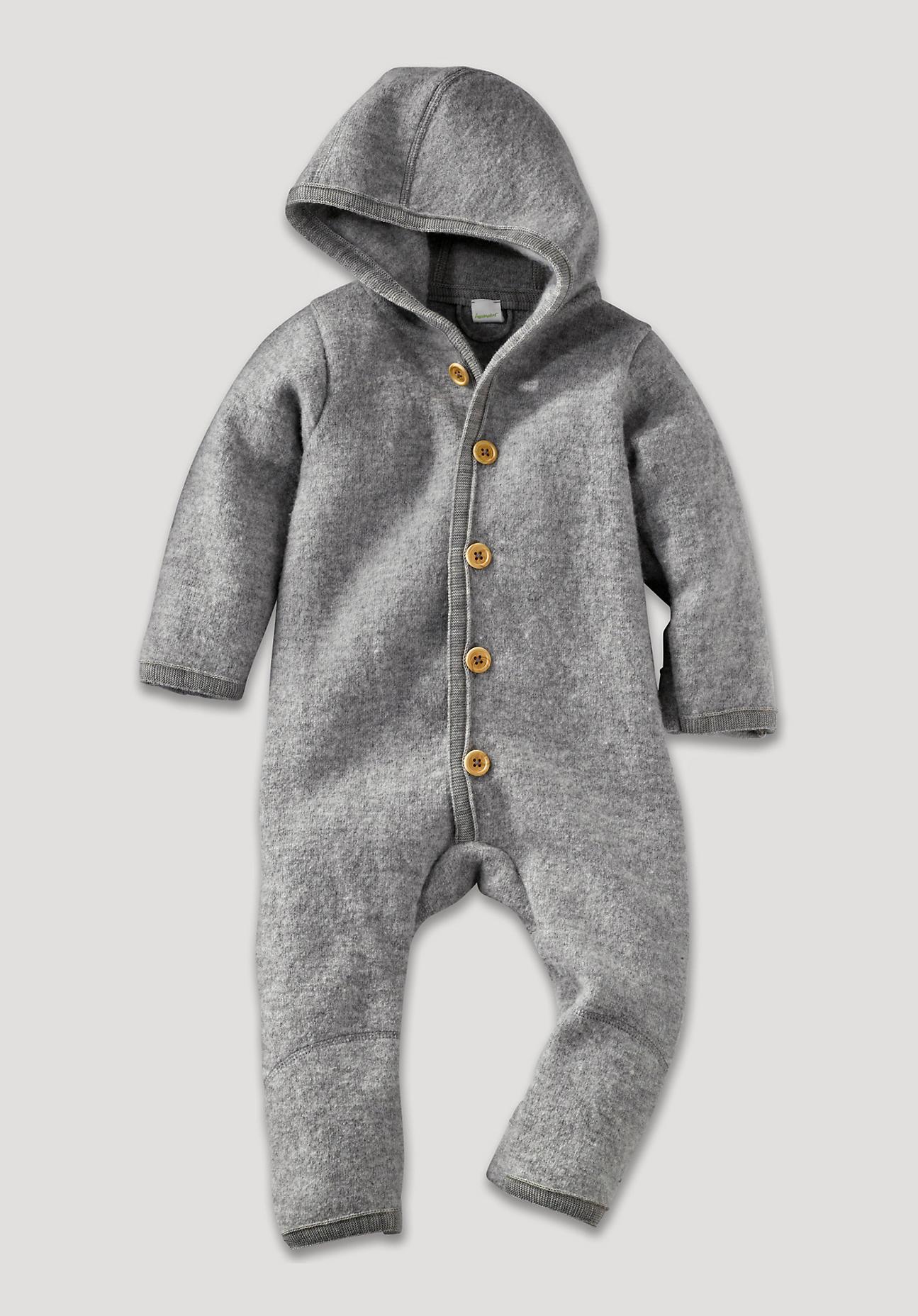 hessnatur Baby Walkoverall aus Bio-Merinowolle – grau – Größe 50/56