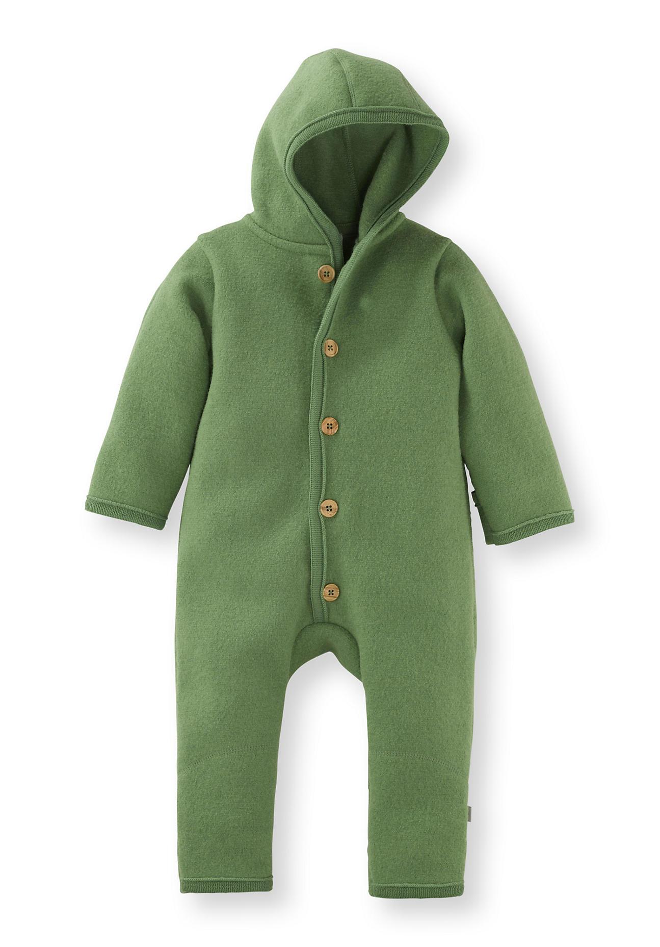 hessnatur Baby Walkoverall aus Bio-Merinowolle – grün – Größe 50/56