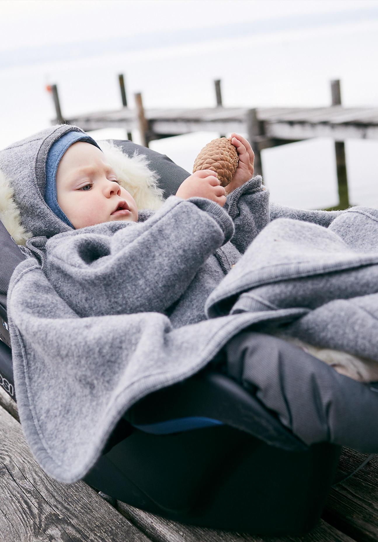 hessnatur Baby Walksack aus Bio-Merinowolle - grau Größe 076 cm