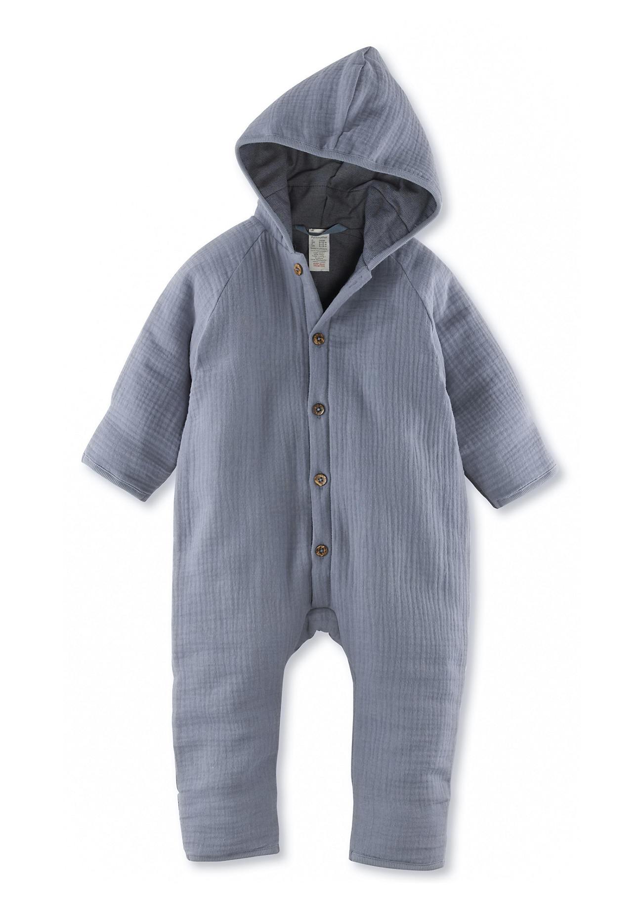 hessnatur Baby Wattierter Musselin-Overall aus Bio-Baumwolle – blau – Größe 74/80