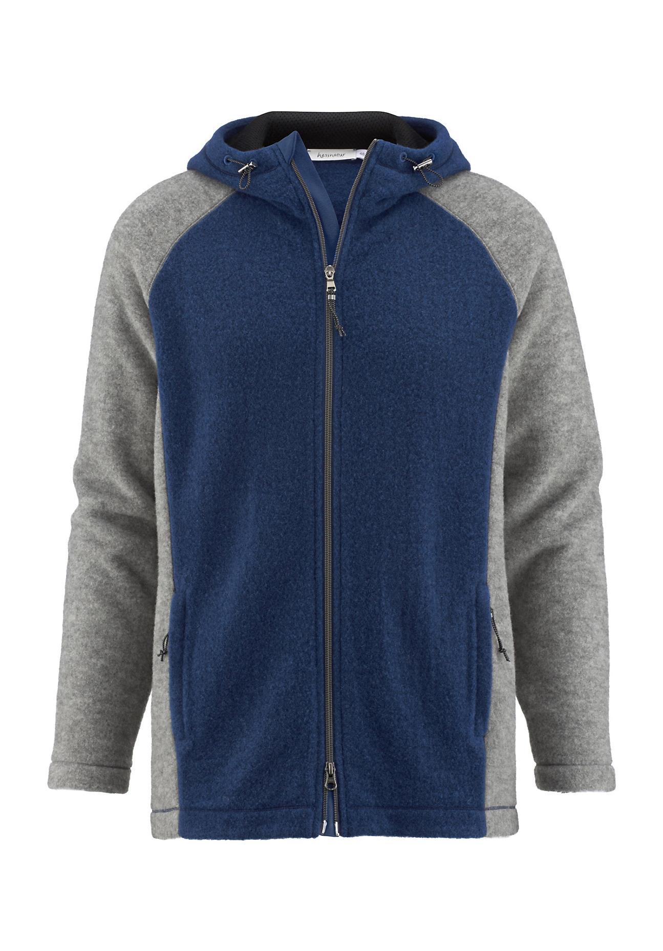 hessnatur Herren-Outdoor Wollfleece Jacke aus Bio-Schurwolle – blau – Größe 50   Sportbekleidung > Sportjacken > Outdoorjacken   hessnatur