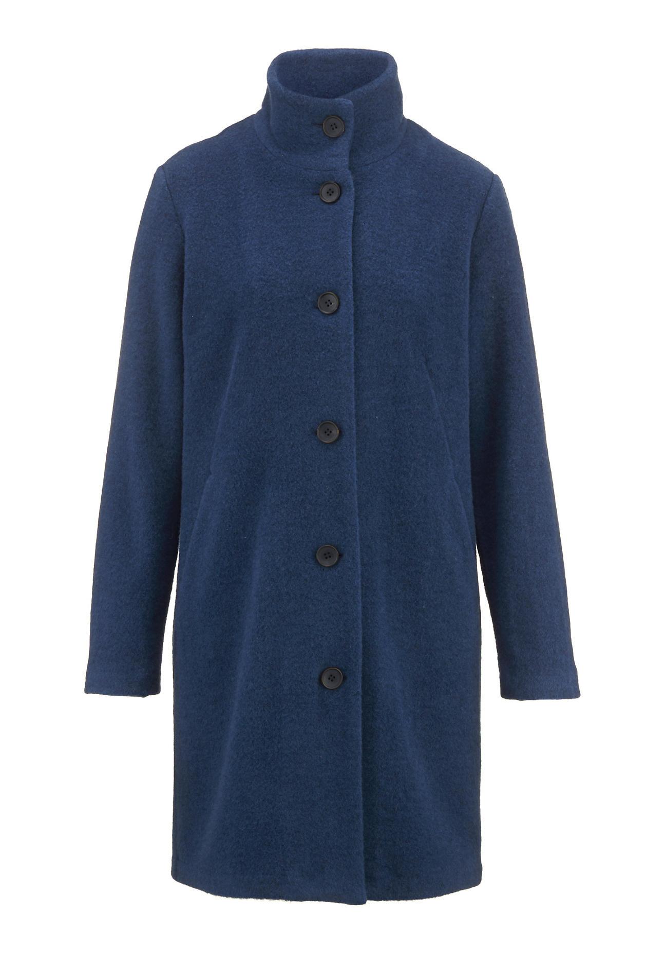 hessnatur Damen Wollfleece-Mantel aus Bio-Schurwolle – blau – Größe 44   Sportbekleidung > Sportmäntel > Fleecemäntel   hessnatur