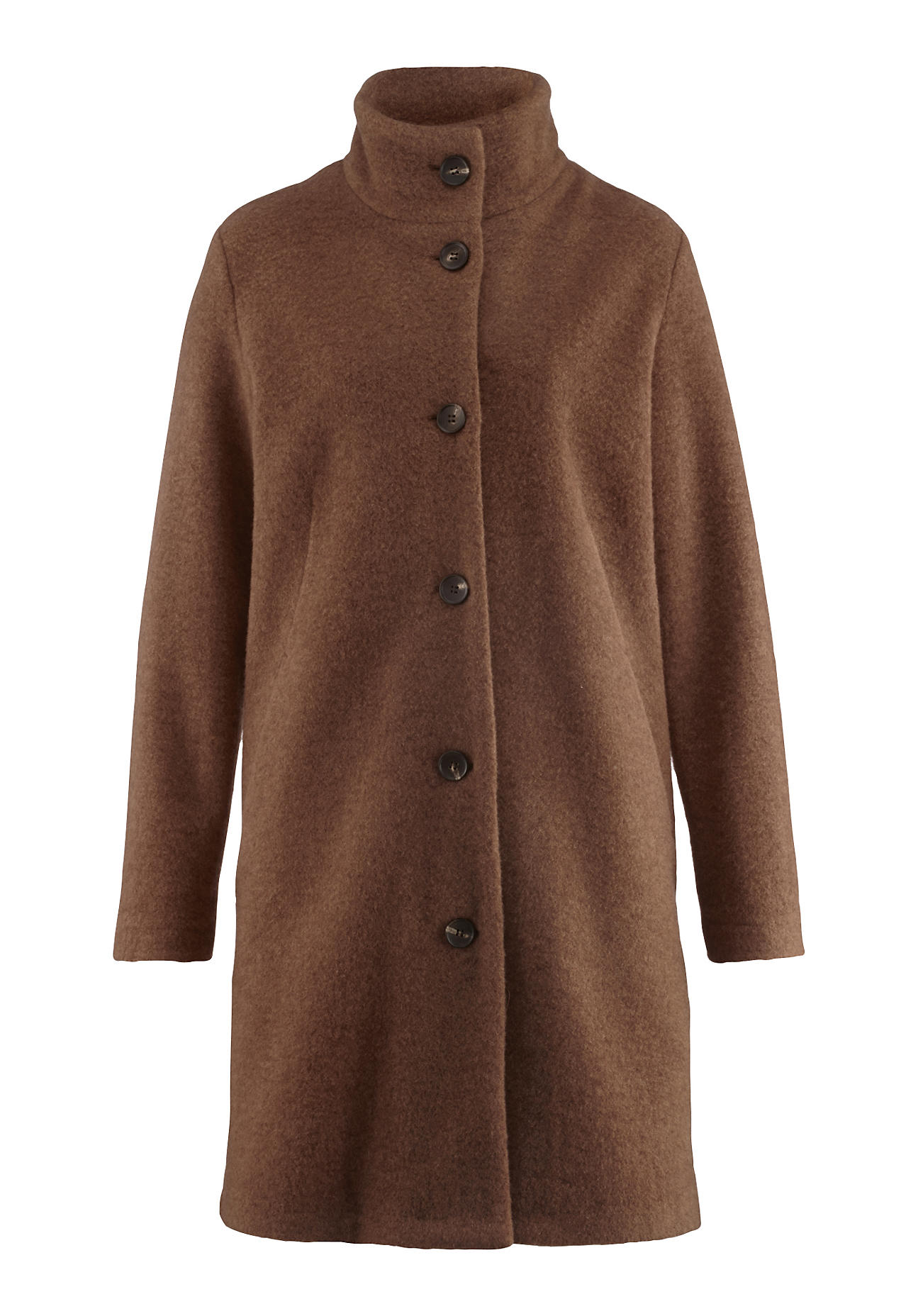hessnatur Damen Wollfleece-Mantel aus Bio-Schurwolle – braun – Größe 42 | Sportbekleidung > Sportmäntel > Fleecemäntel | hessnatur
