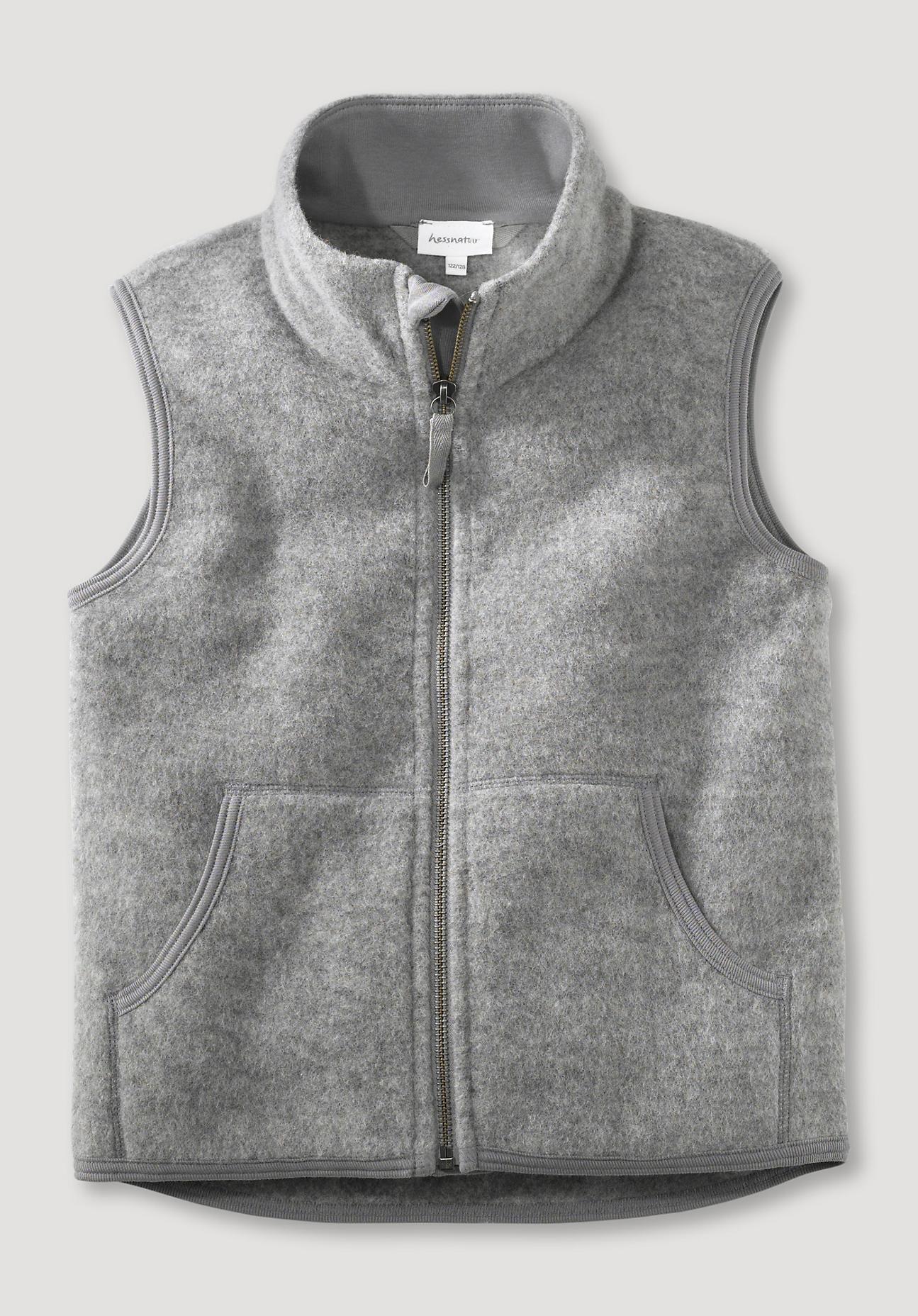 hessnatur Kinder Wollfleece-Weste aus Bio-Merinowolle - grau Größe 146/152