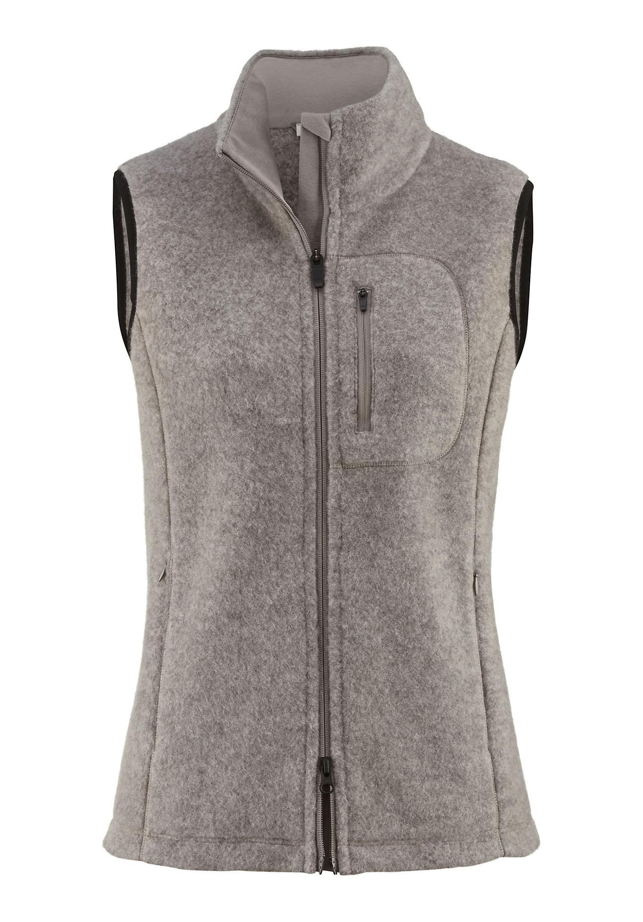 hessnatur Outdoor Wollfleece-Weste für Sie aus Schurwolle – grau – Größe 40   Sportbekleidung > Sportwesten > Outdoorwesten   Greige   Jersey - Baumwolle   hessnatur