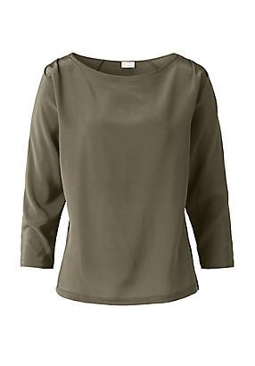 hessnatur Bluse aus Seiden-Crêpe und Bio-Baumwolle, Größe S, grün von Hess Natur in black - Schwarz für 0,00€