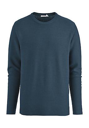Image of hessnatur Herren Pullover aus Schurwolle mit Baumwolle, Größe 56, blau