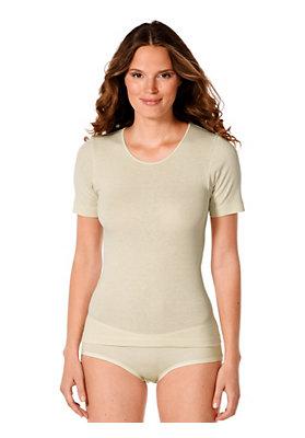 Unterhemden - Halbarmhemd aus Bio-Baumwolle mit Bio-Merinowolle