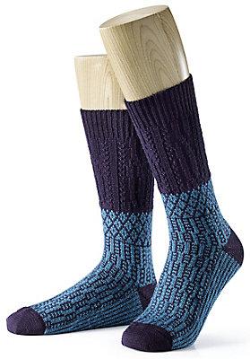 - Jacquard-Socke aus reiner Bio-Schurwolle