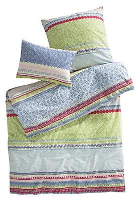 """- Kinder Biber-Bettwäsche """"Streifen"""" aus reiner Bio-Baumwolle"""