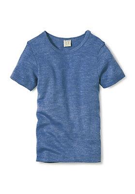 - Kinder Halbarm-Hemd aus Schurwolle mit Seide