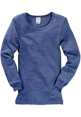 - Kinder Langarm-Hemd aus Schurwolle mit Seide